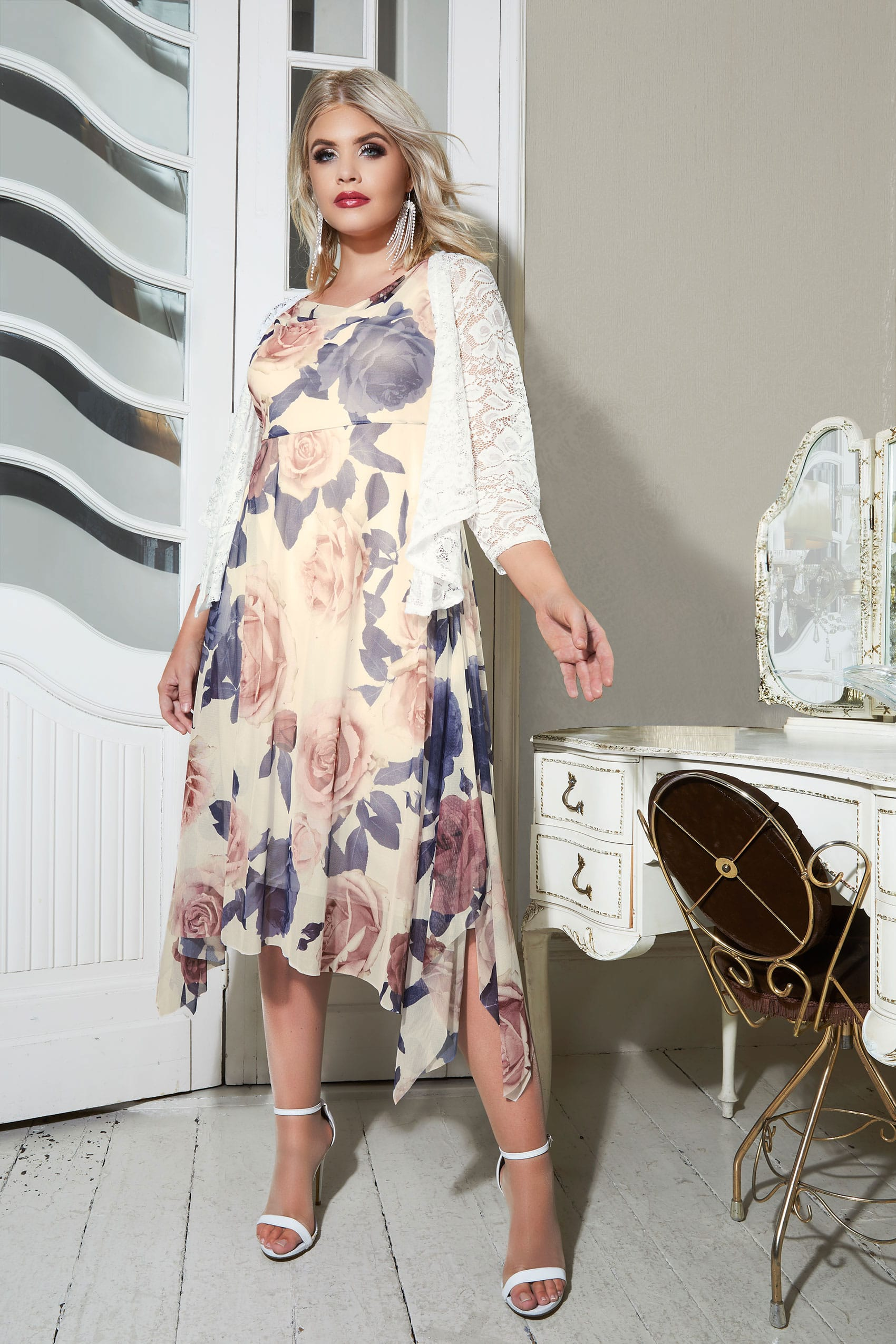 YOURS LONDON Ivory Floral Midi Dress With Cowl Neck, plus ...
