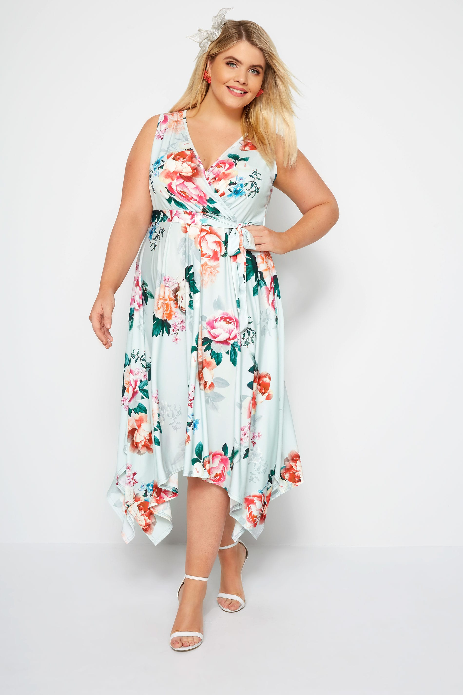 d4bd17b990a2c Plus Size YOURS LONDON Mint Floral Wrap Dress With Hanky Hem | Sizes ...