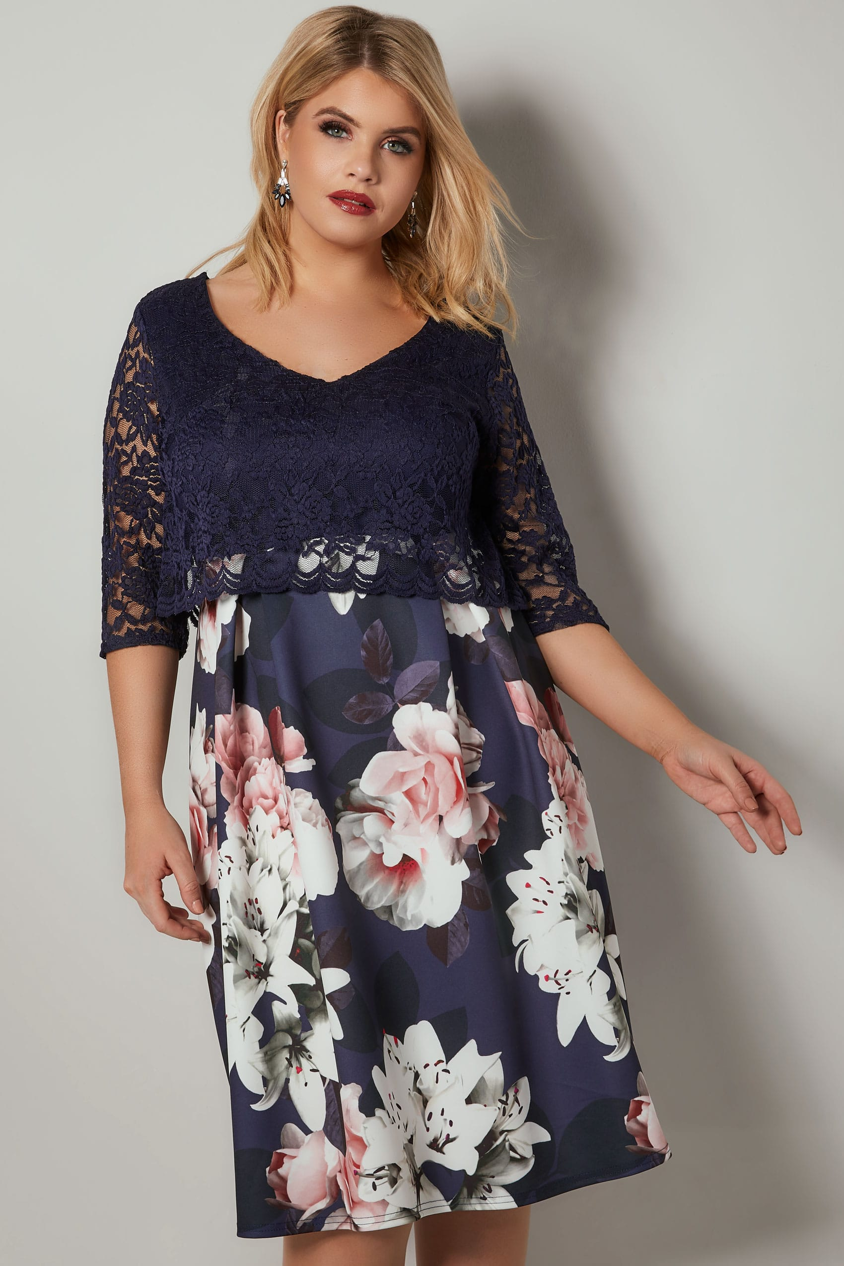Yours London Navy  U0026 Multi Floral Print Lace Overlay Midi