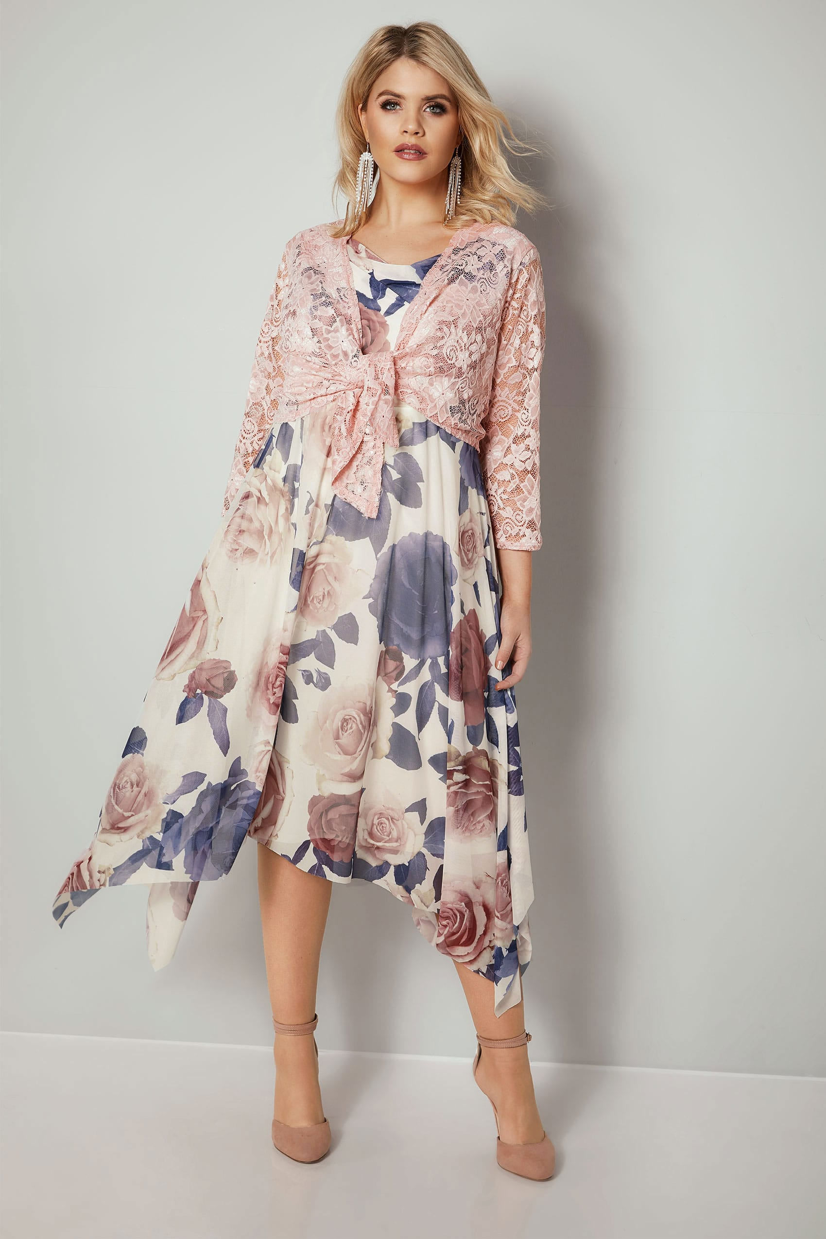 143 305 70httpswww Bing Commapsq Go To Www Bing Com Form Hdrsc4: YOURS LONDON Ivory & Multi Floral Print Midi Dress With