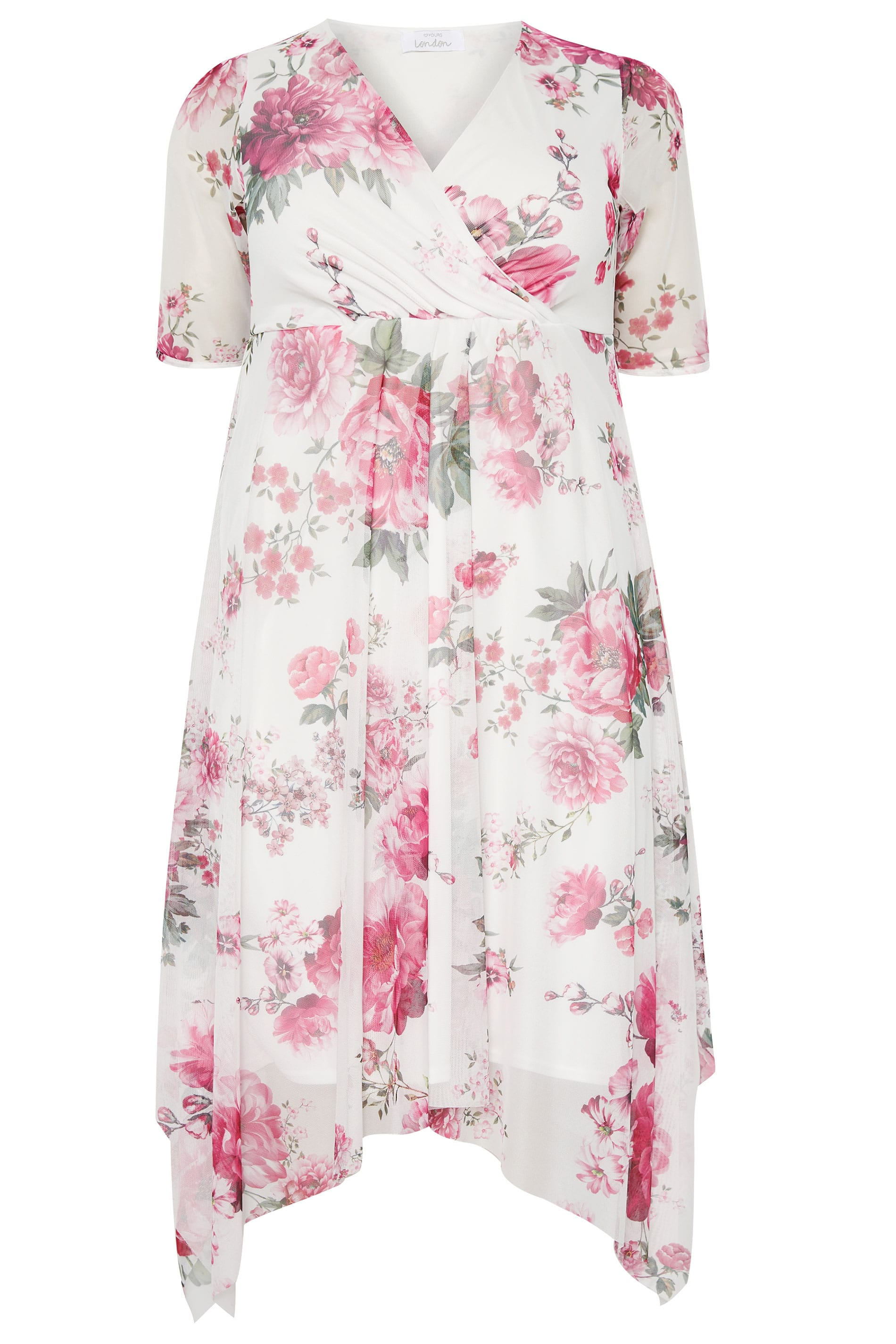 be74af0c196 YOURS LONDON Pink Floral Mesh Midi Dress With Hanky Hem | Sizes 16 ...