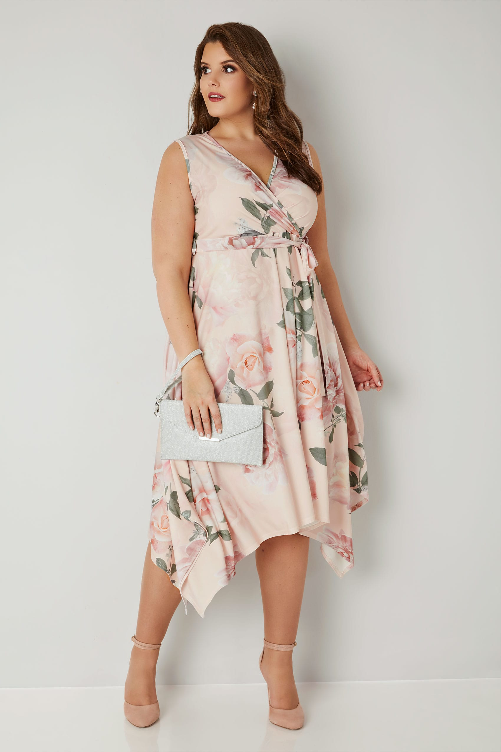 Yours London Pink Amp Multi Floral Wrap Dress With Hanky Hem
