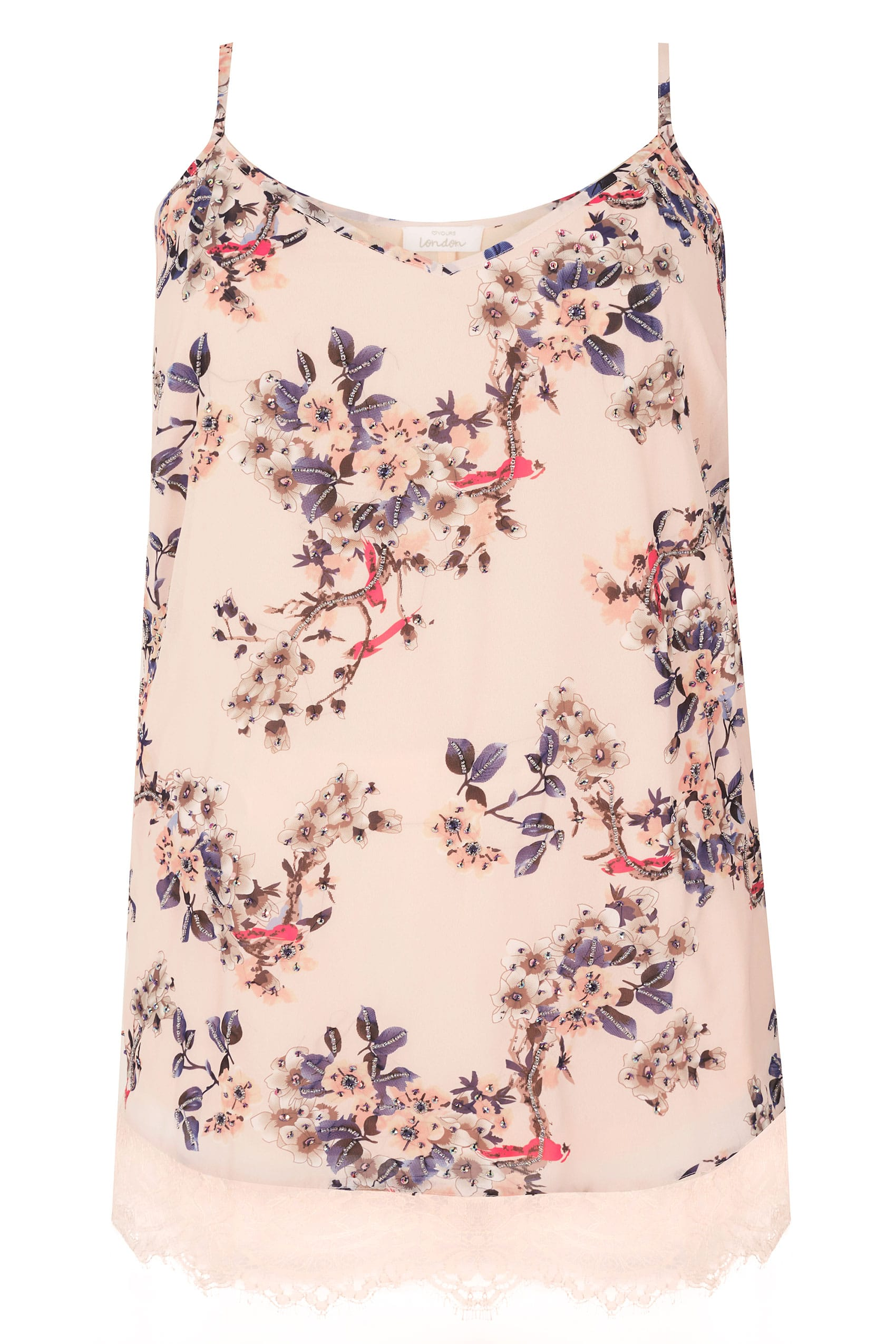 5e84bdbad0787 YOURS LONDON Pink Floral Embellished Cami Top