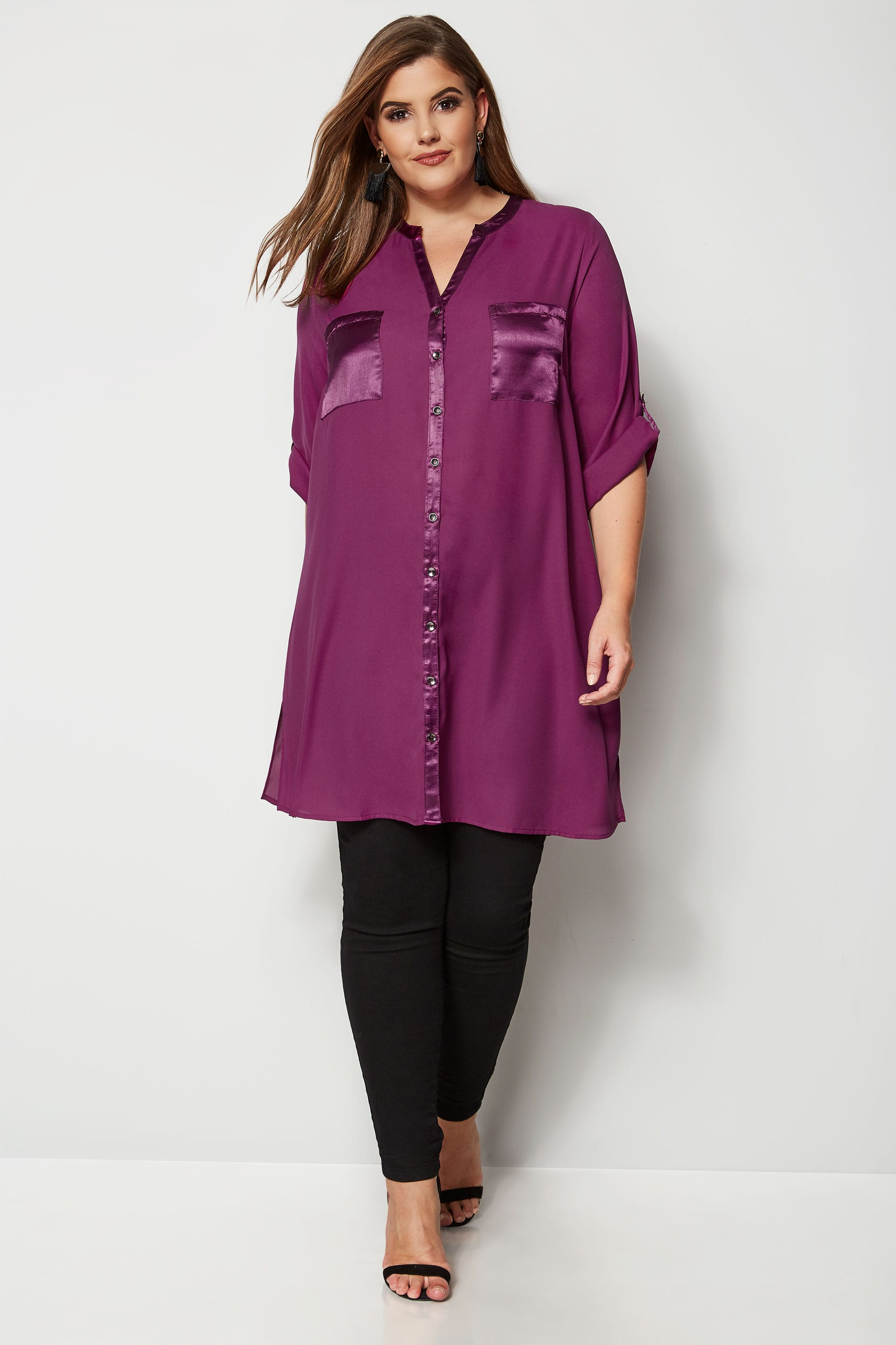 how to fill out a letter yours lila chiffonbluse mit satinsaum gro 223 e gr 246 223 en 22295 | YOURS LONDON Purple Chiffon Blouse With Satin Trim 156564 731b