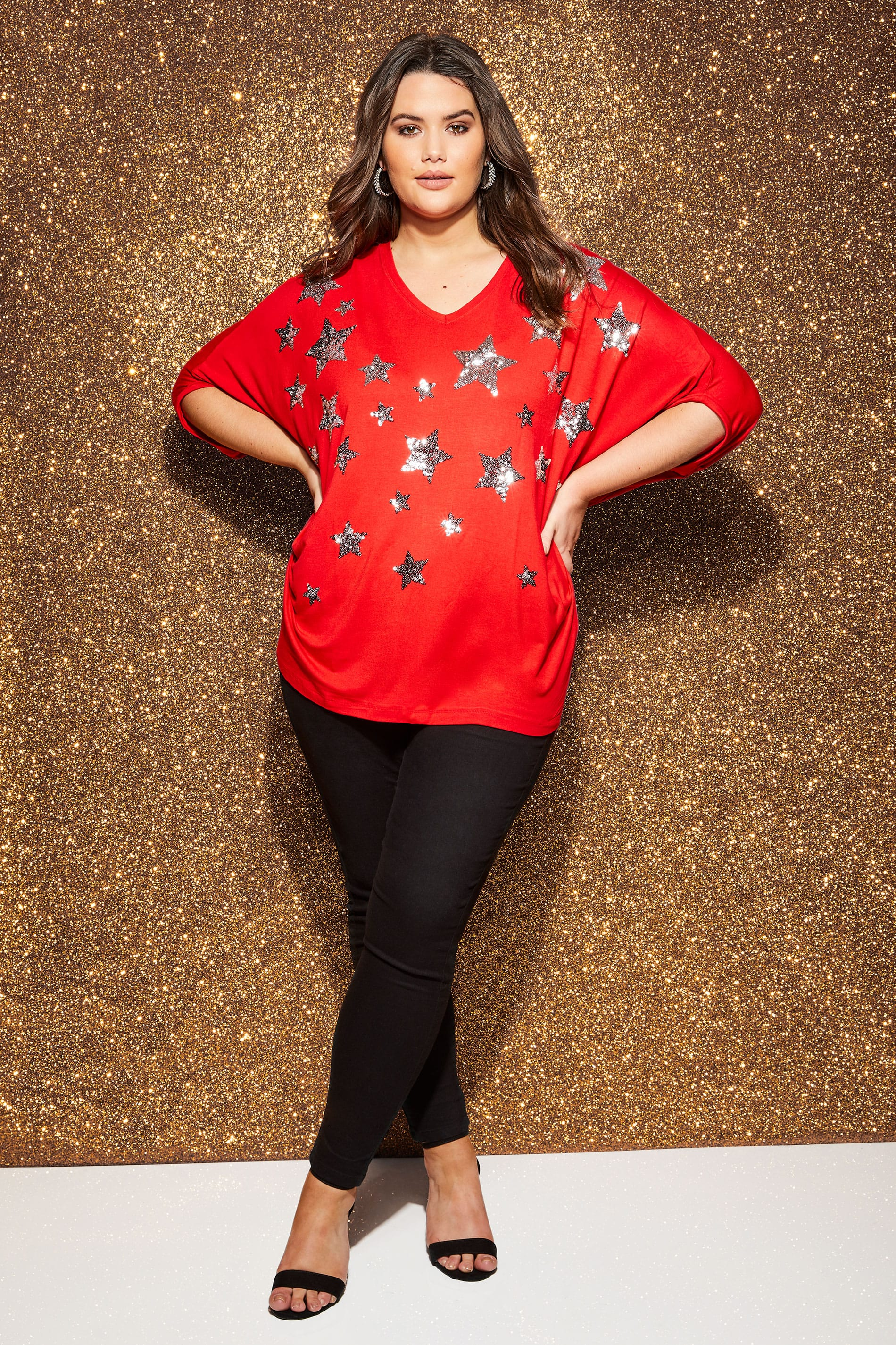 Yours London Red Star Cape Top, Plus Size 16 To 32-1546