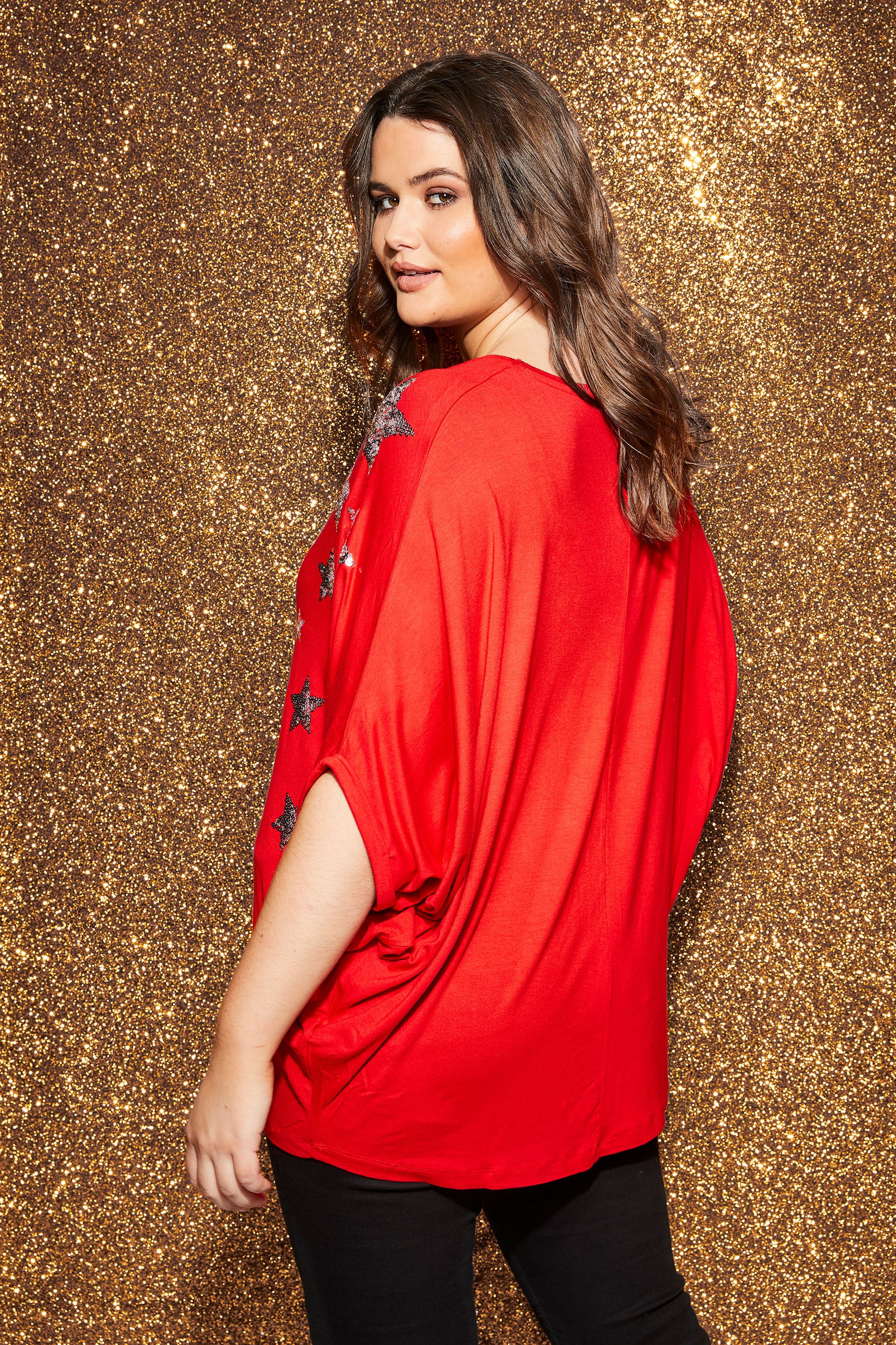Yours London Red Star Cape Top, Plus Size 16 To 32-2294
