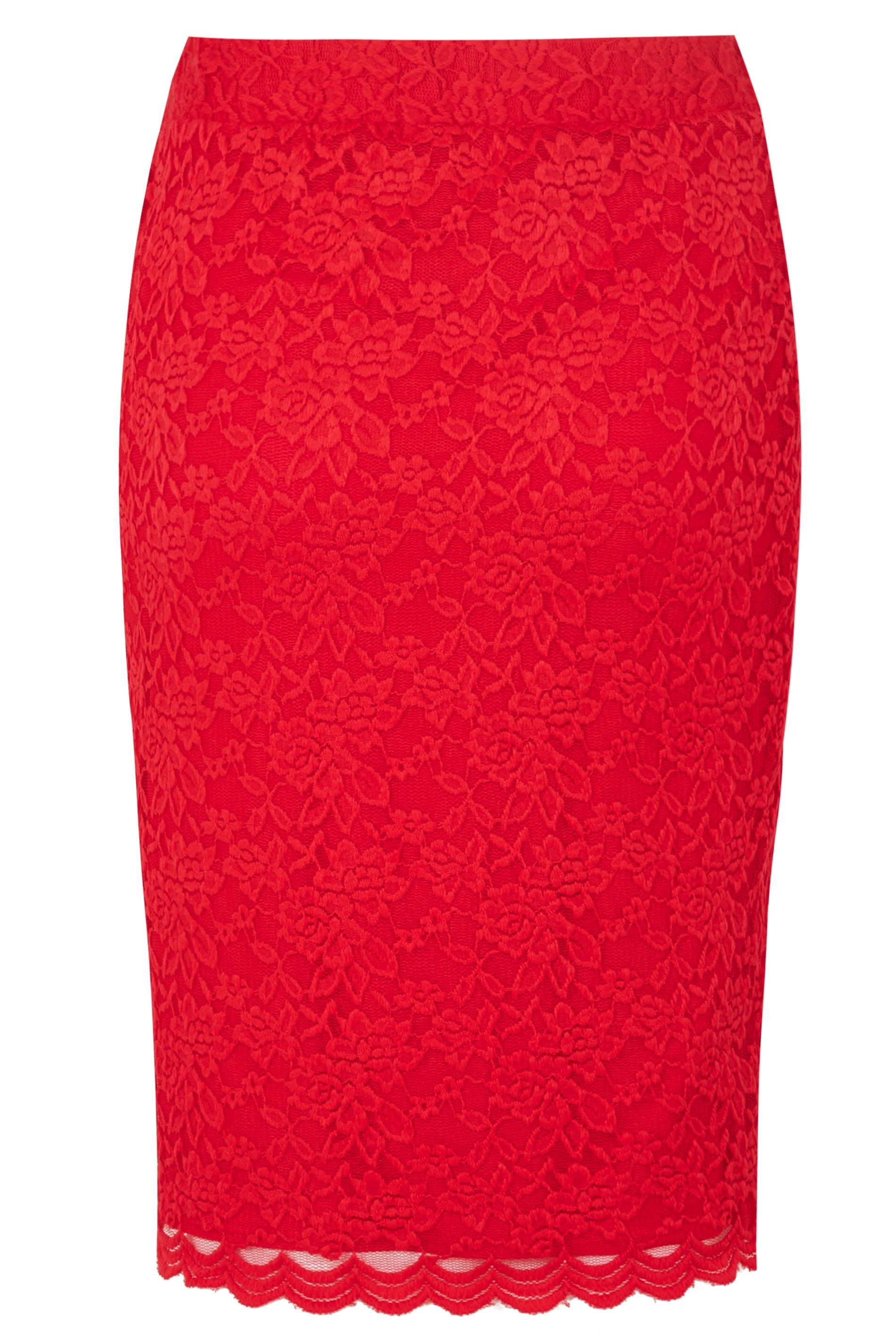 yours london red stretch lace pencil skirt with scalloped hem plus size 16 to 32. Black Bedroom Furniture Sets. Home Design Ideas