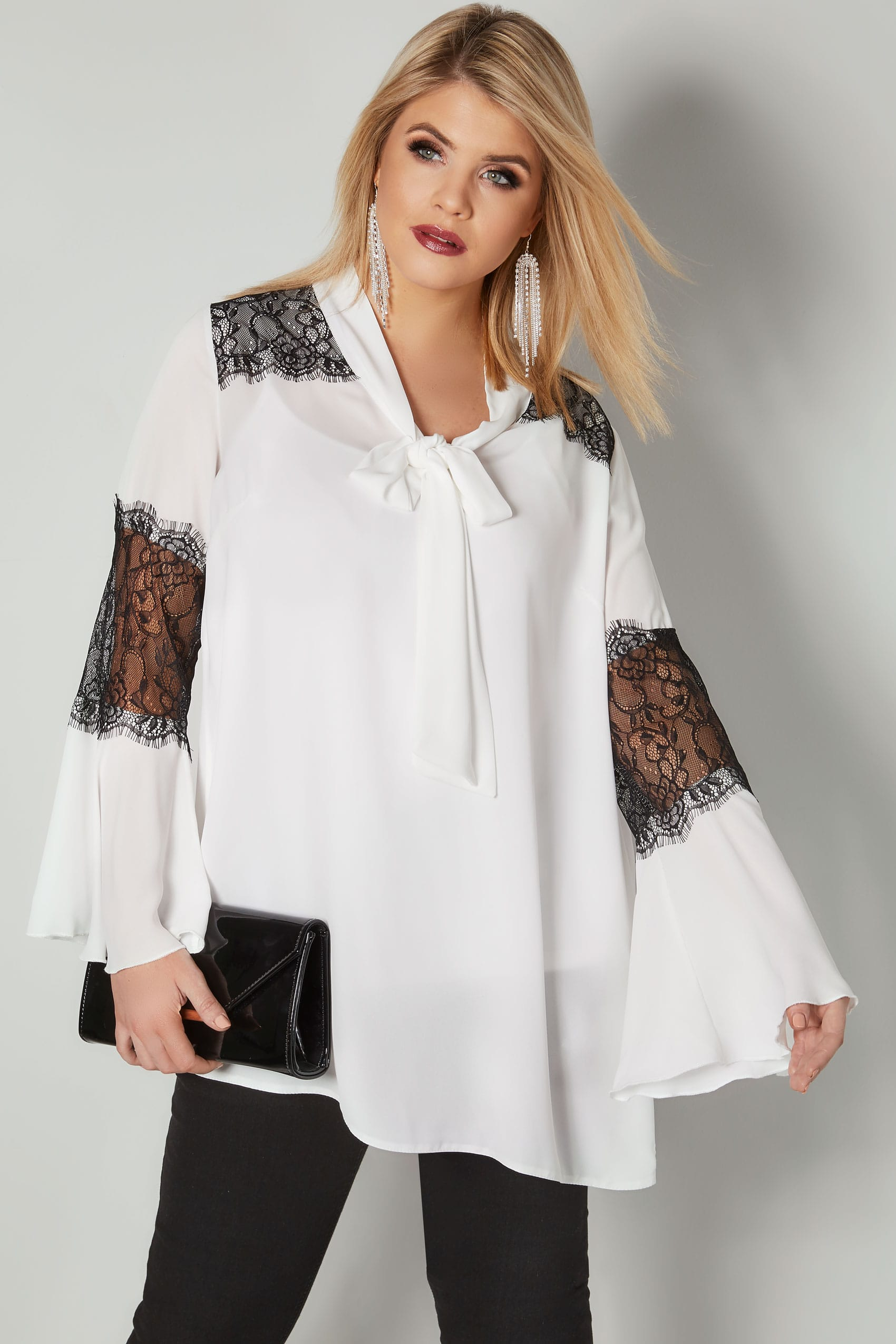 e88a943c2cdf YOURS LONDON White & Black Pussy Bow Chiffon Blouse With Lace ...