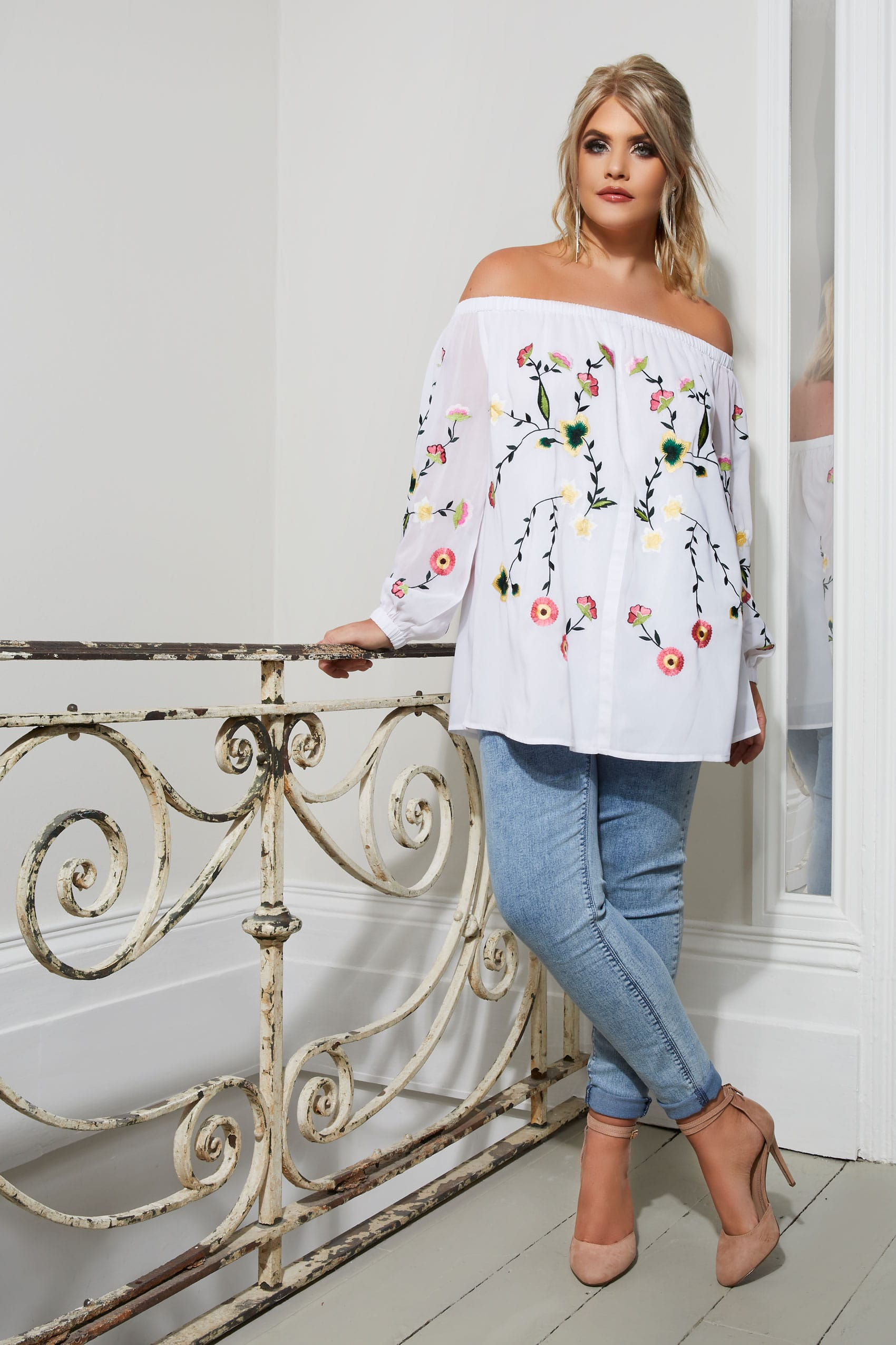 Yours london top bardot blanc avec broderie fleurs taille 44 64 - Best shows to see in london ...