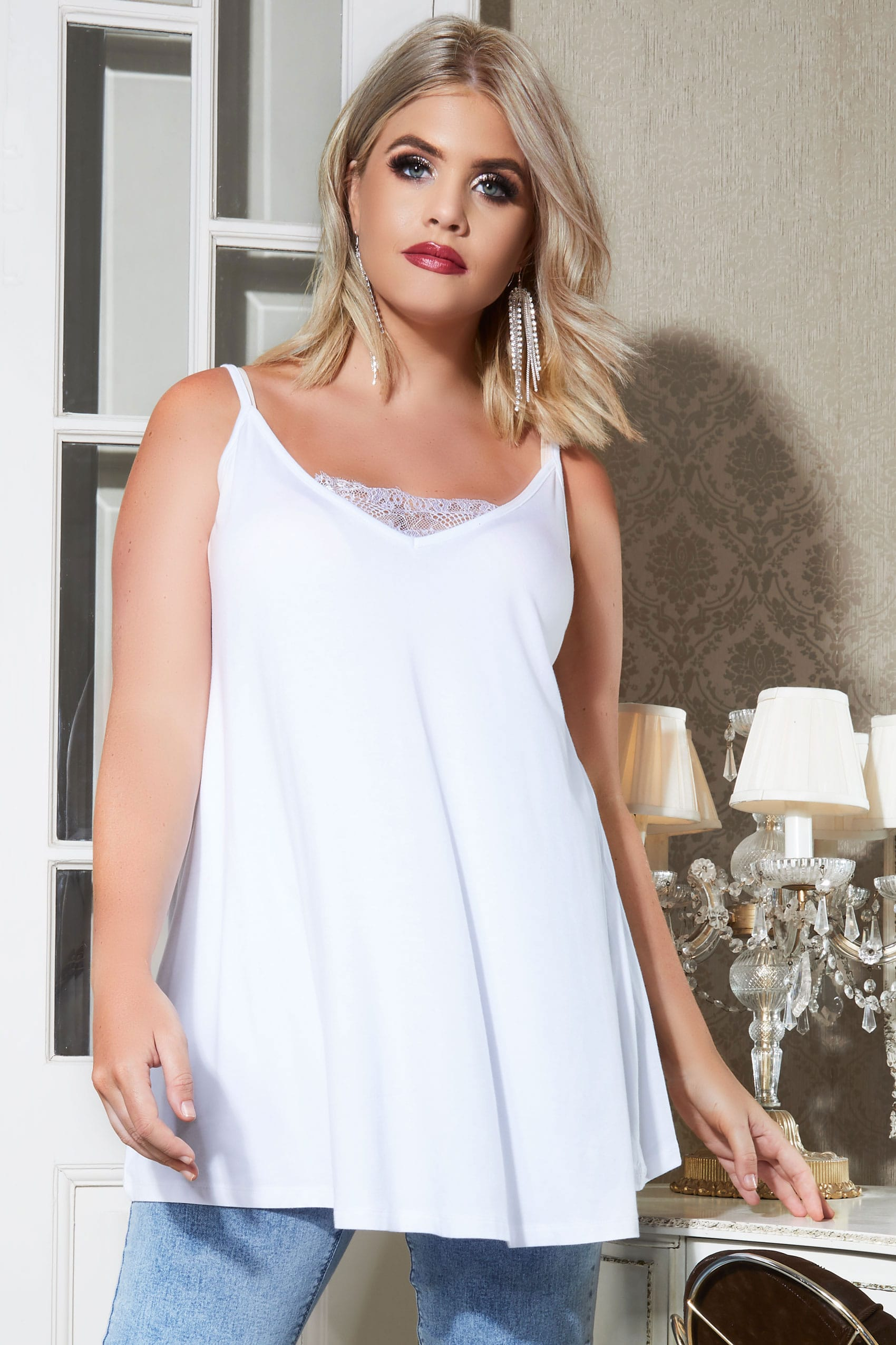 5e3042fb563 YOURS LONDON White Eyelash Lace Cami Top, Plus size 16 to 36