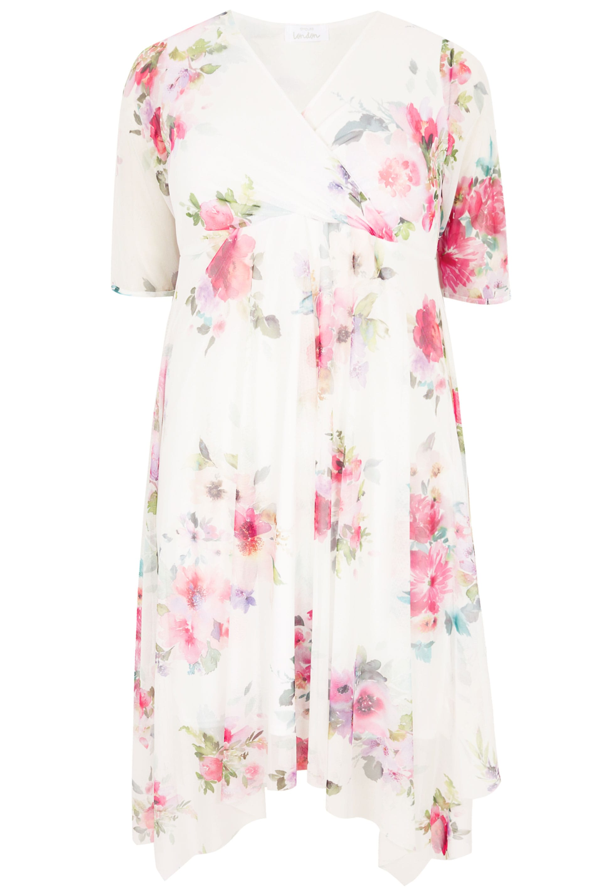3d673f1c4de YOURS LONDON White Floral Mesh Midi Dress With Hanky Hem | Plus Size ...