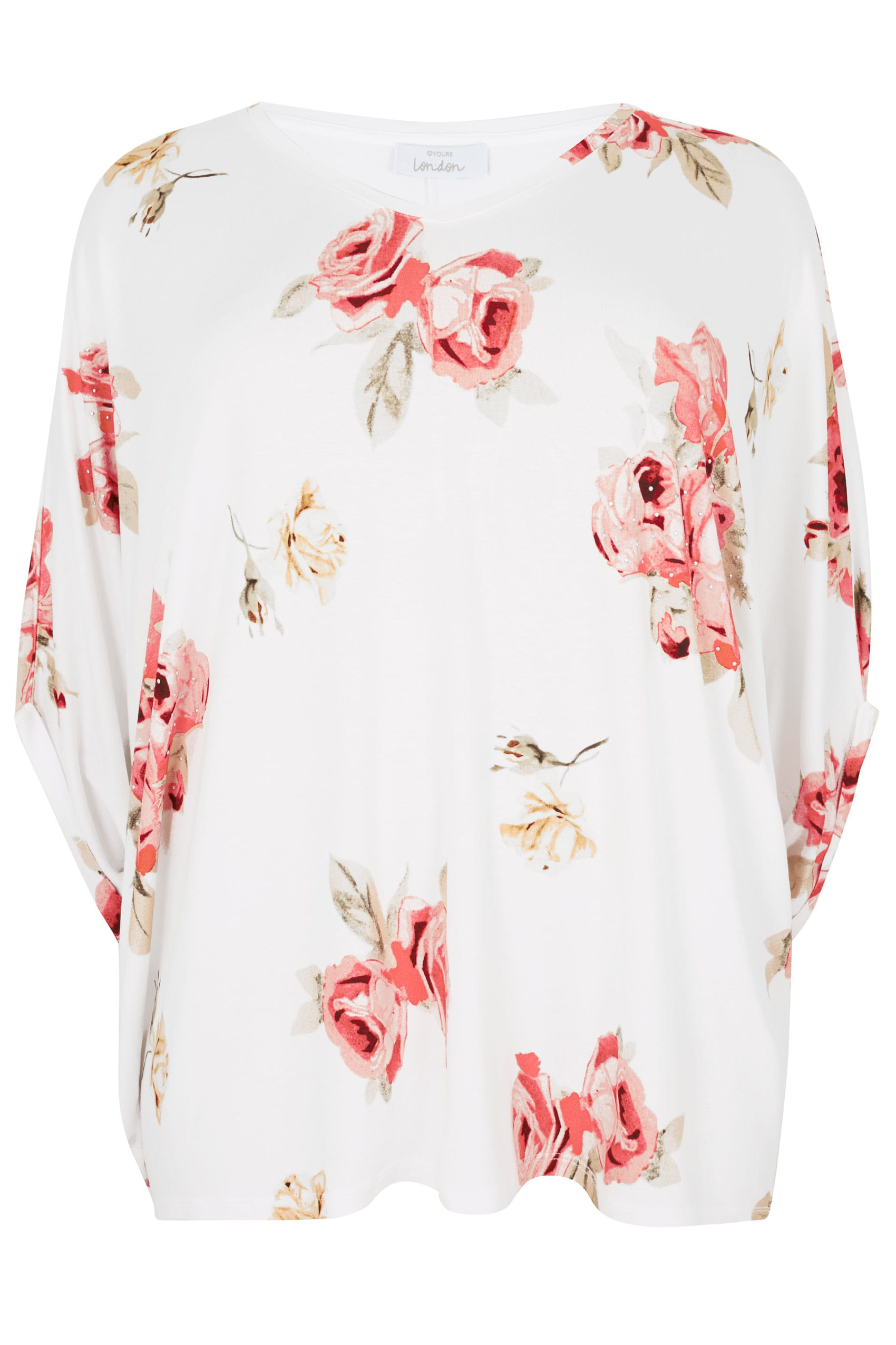 Yours london white multi floral print oversized top with studded details plus size 16 to 32 - Best shows to see in london ...