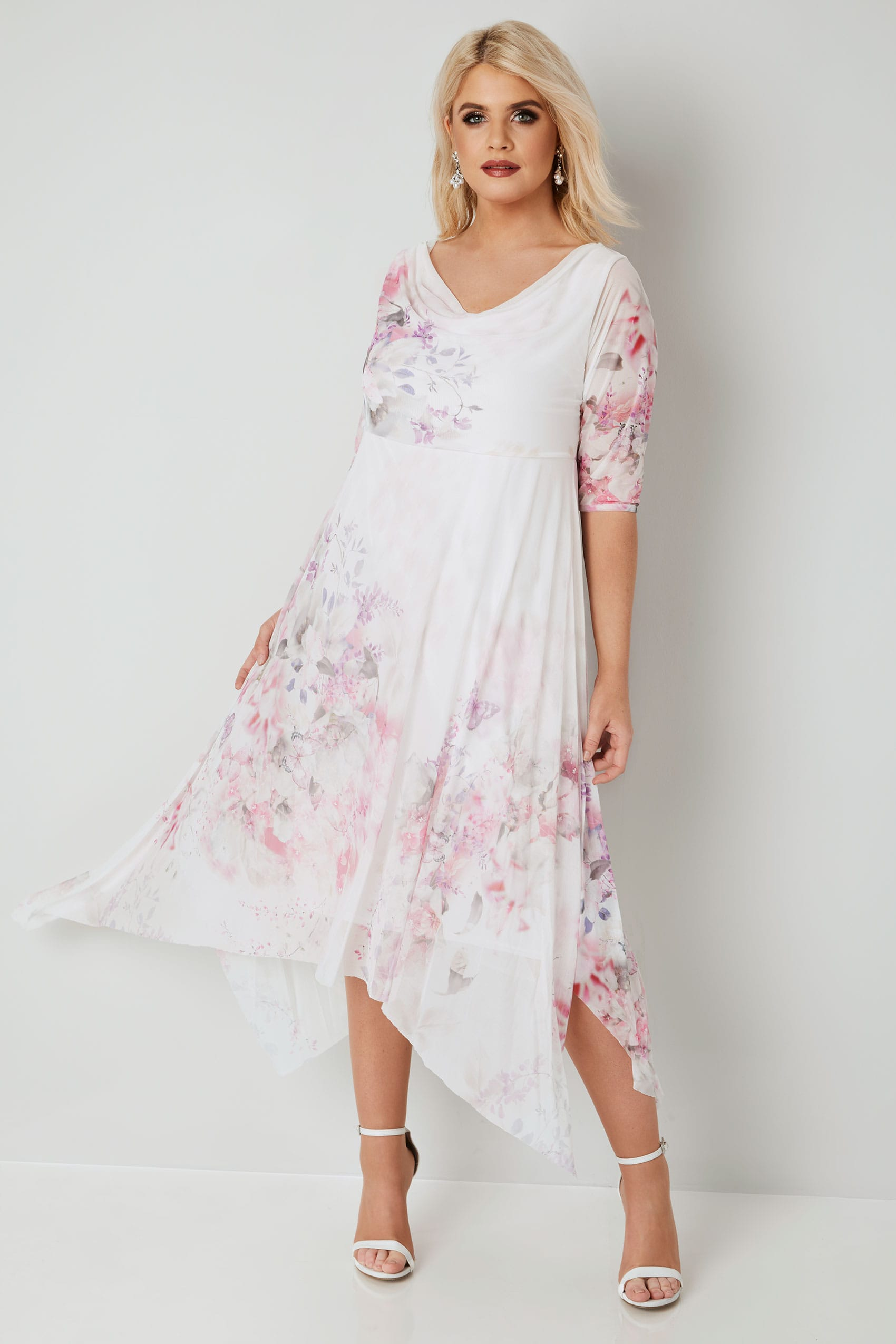 Yours London White Amp Pink Floral Mesh Hanky Hem Dress