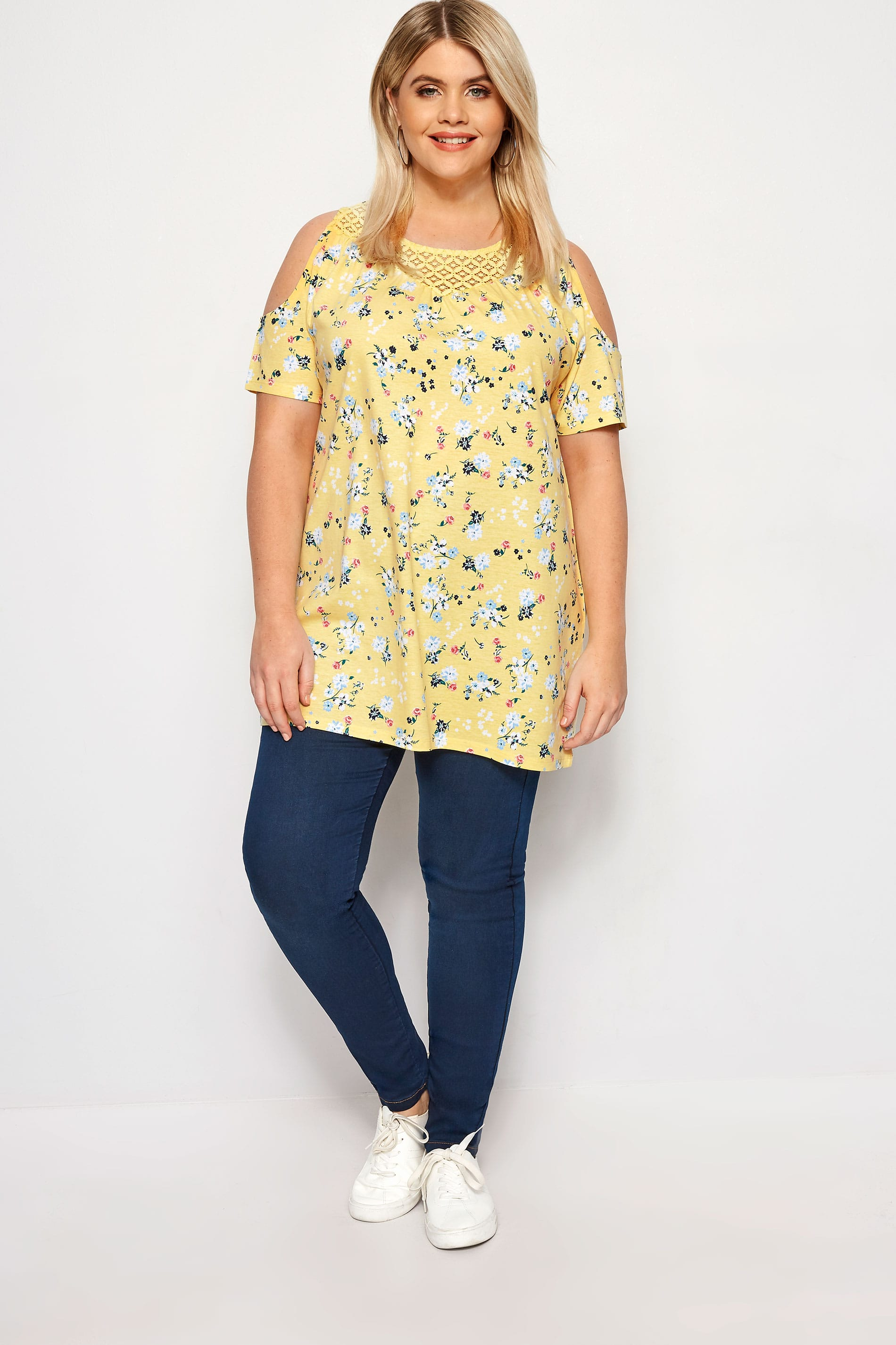 56b77505147f0 Plus Size Yellow Ditsy Floral Cold Shoulder Top
