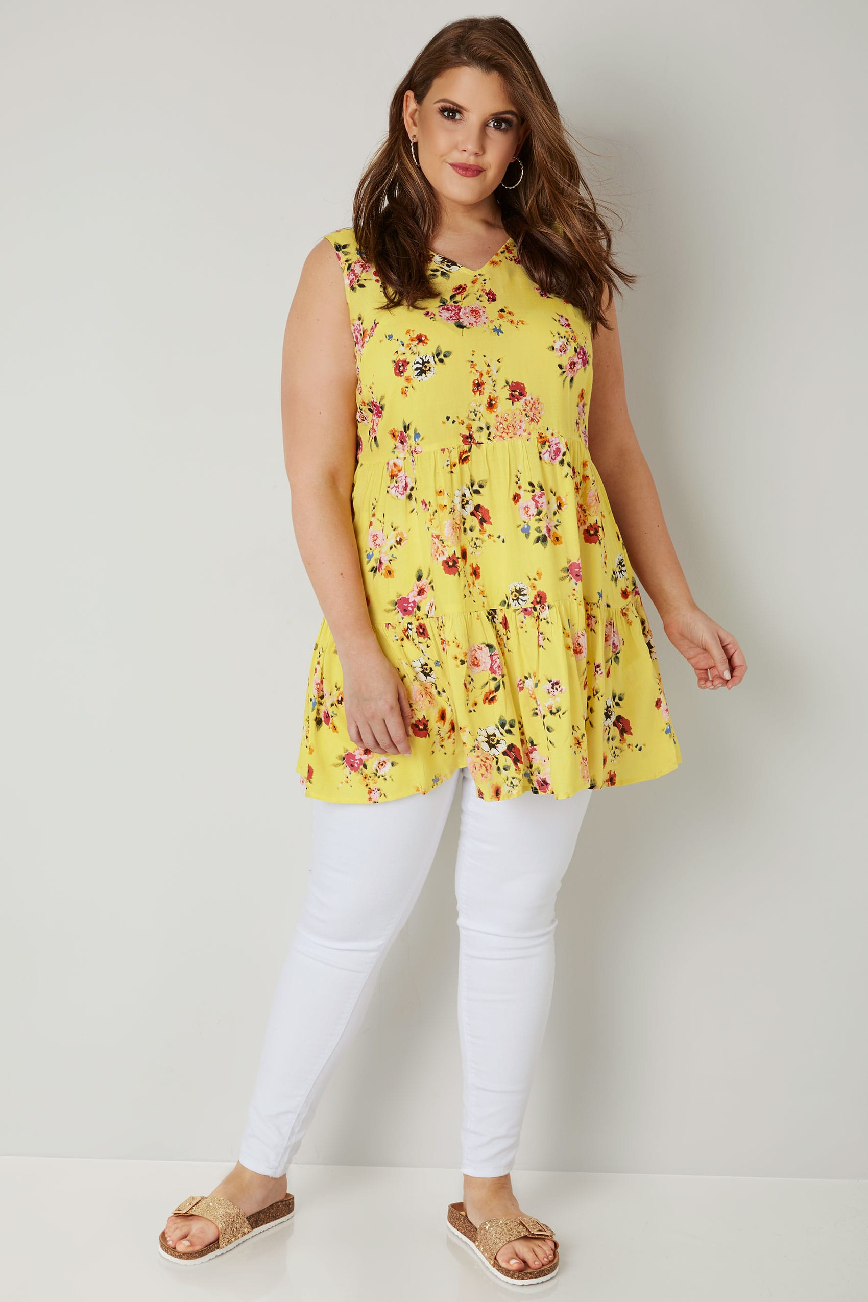 Yellow Floral Layered Longline Top With Front Lace Cross ...