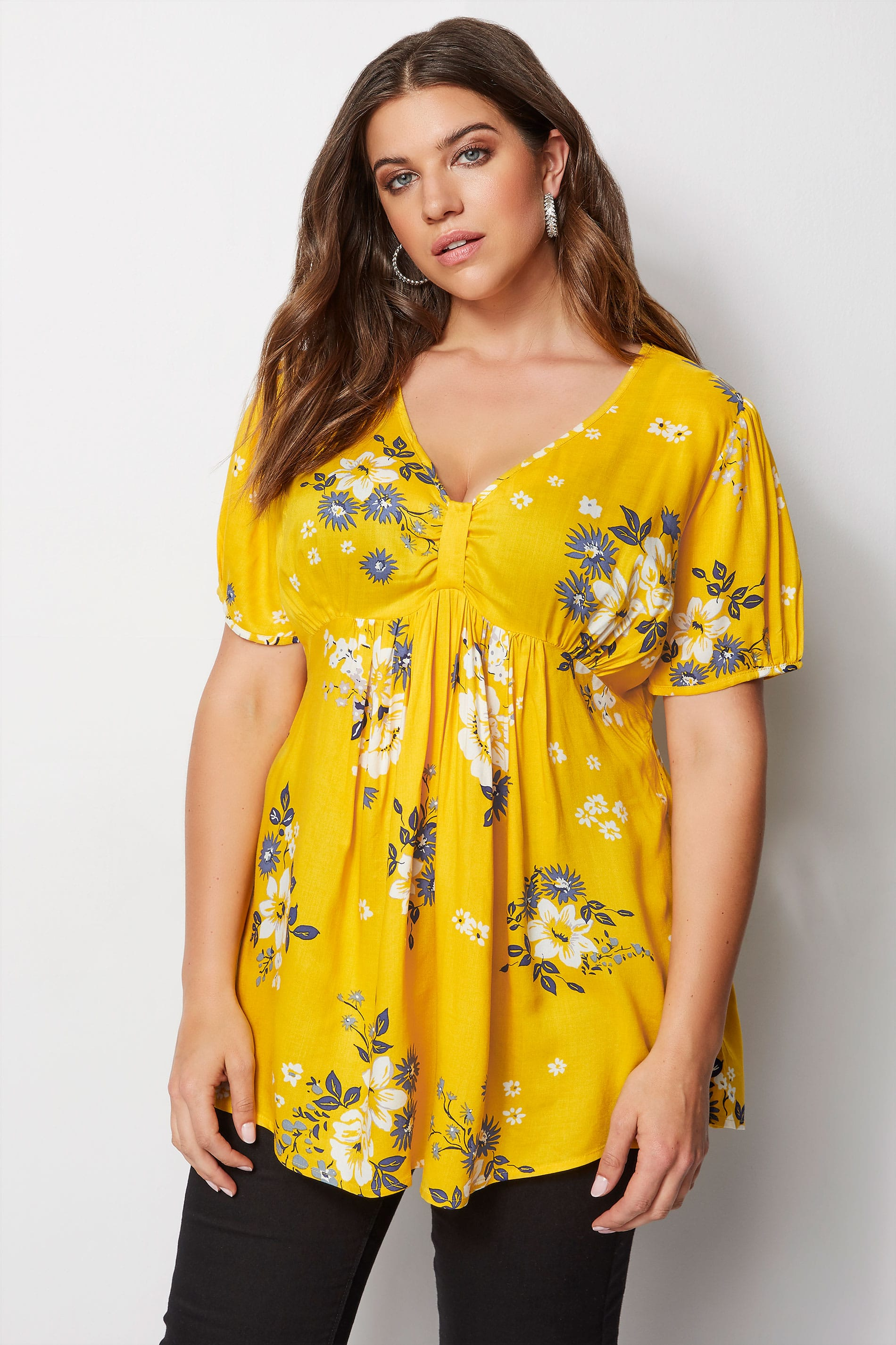 Yellow Floral Tea Blouse Plus Size 16 To 32