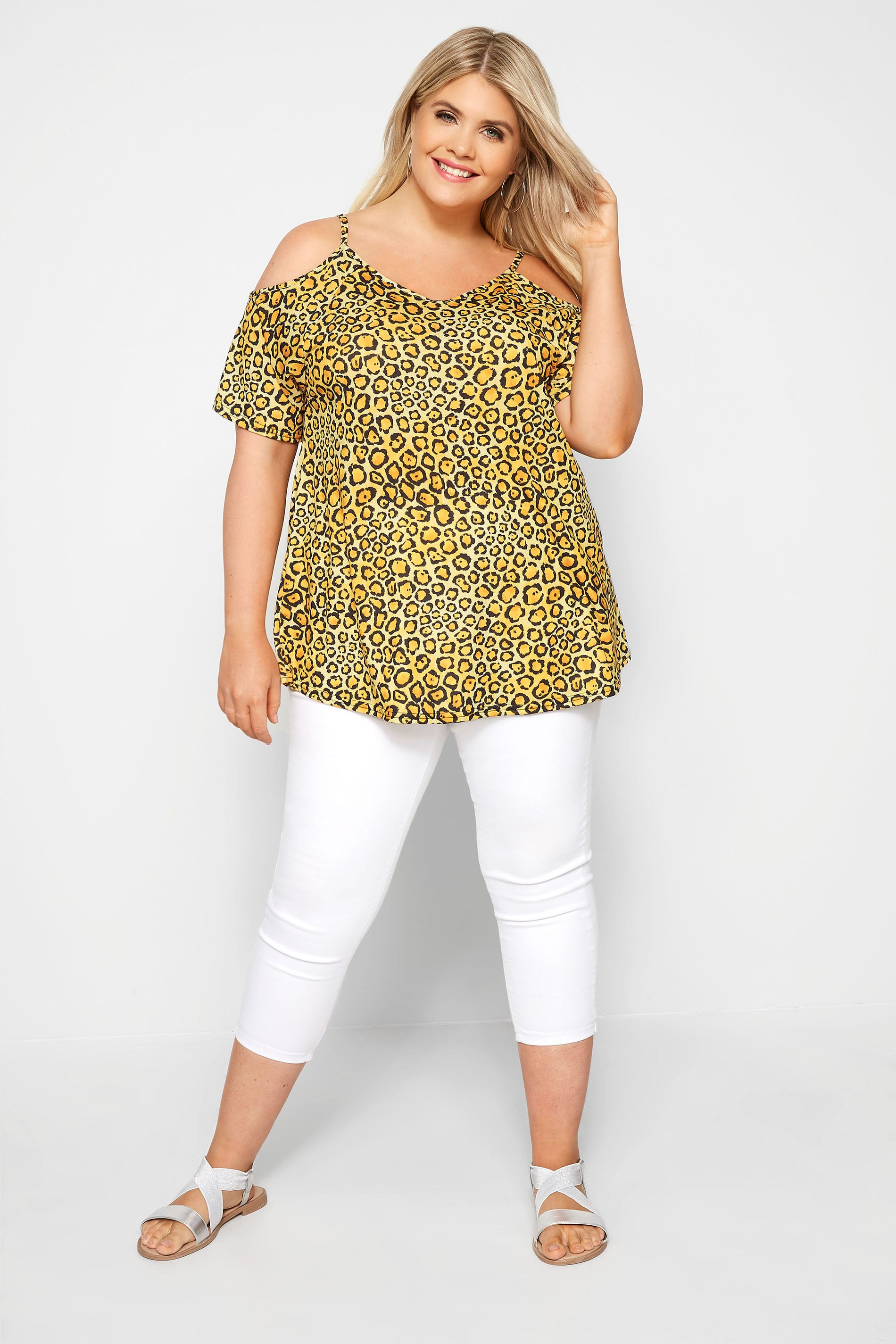 178522e5fee Yellow Leopard Print Cold Shoulder Top | Sizes 16 to 36 | Yours Clothing