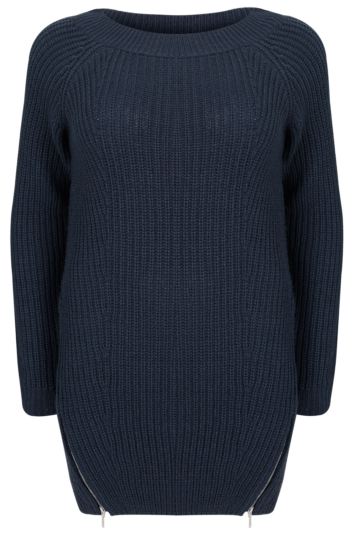Navy blue knitted coat made from a blend of fabric with ribbed detail. Straight cut, raised collar, front zip fastening, two side pockets with zip and flared finishes on the sleeves and hem.