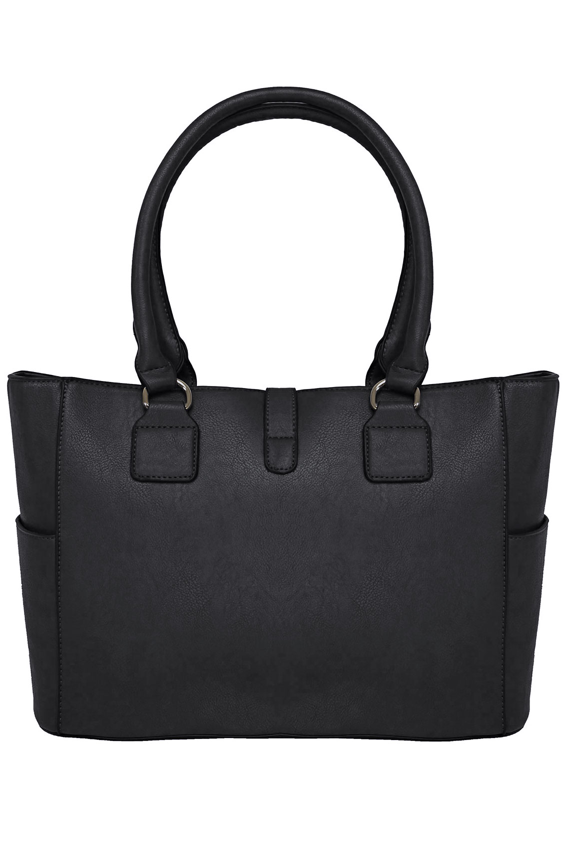Black Structured Tote Bag With Over Strap Detail