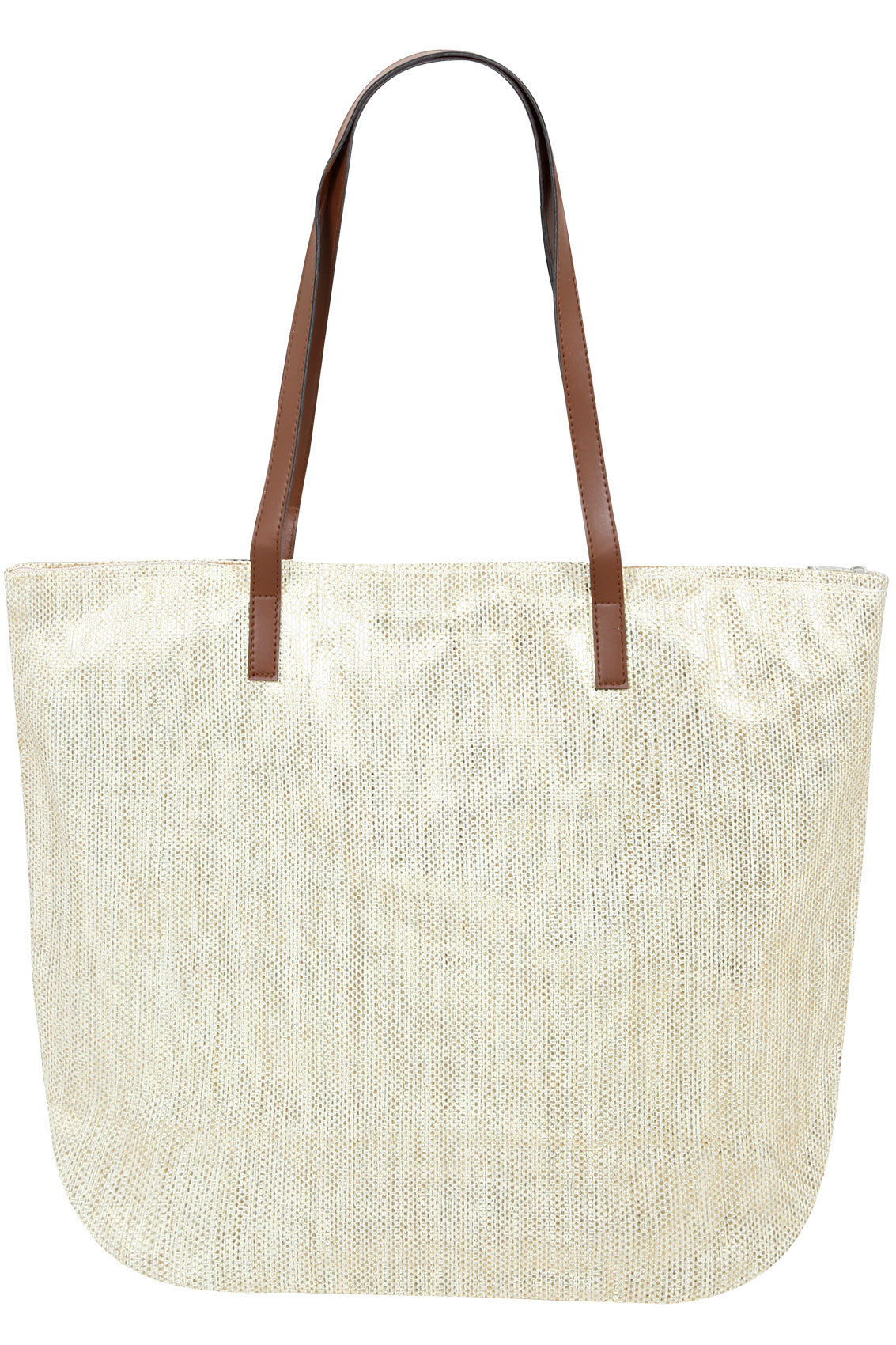Metallic Straw Beach Bag With PU Straps