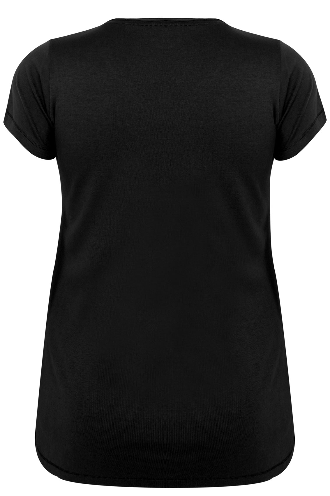 Black Short Sleeved V Neck Basic T Shirt Plus Size 16 To 36
