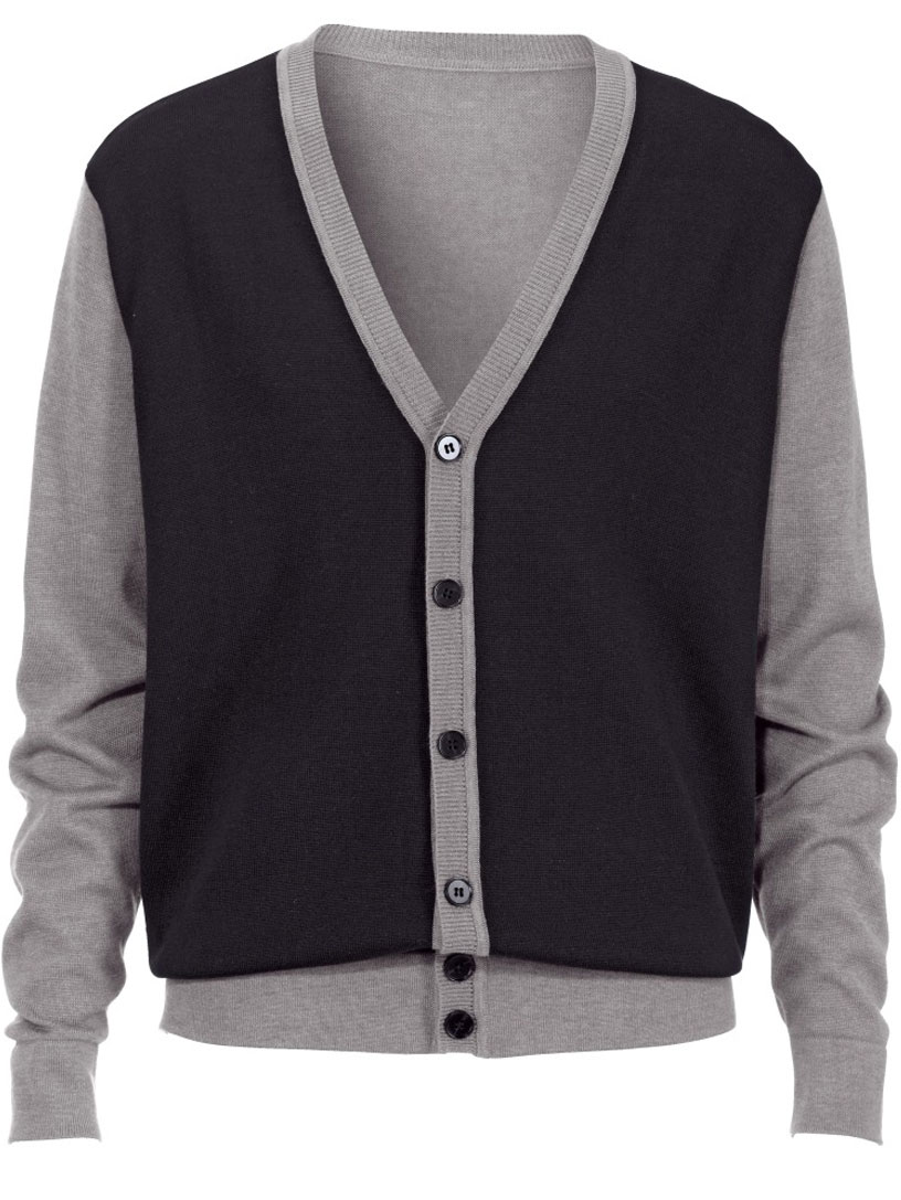 Black And Grey Long Sleeve V-Neck Cardigan Extra Large S,M,L,XL ...