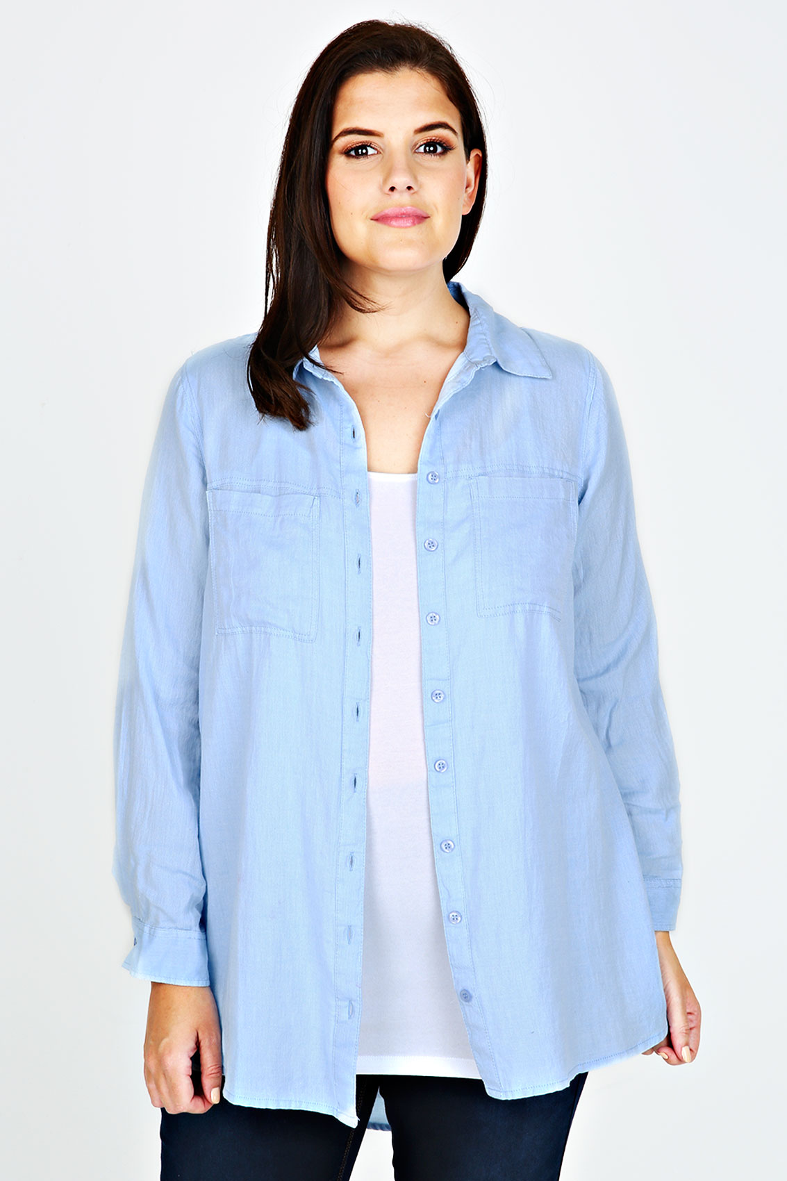 blue chambray cotton boyfriend button up shirt with dip b
