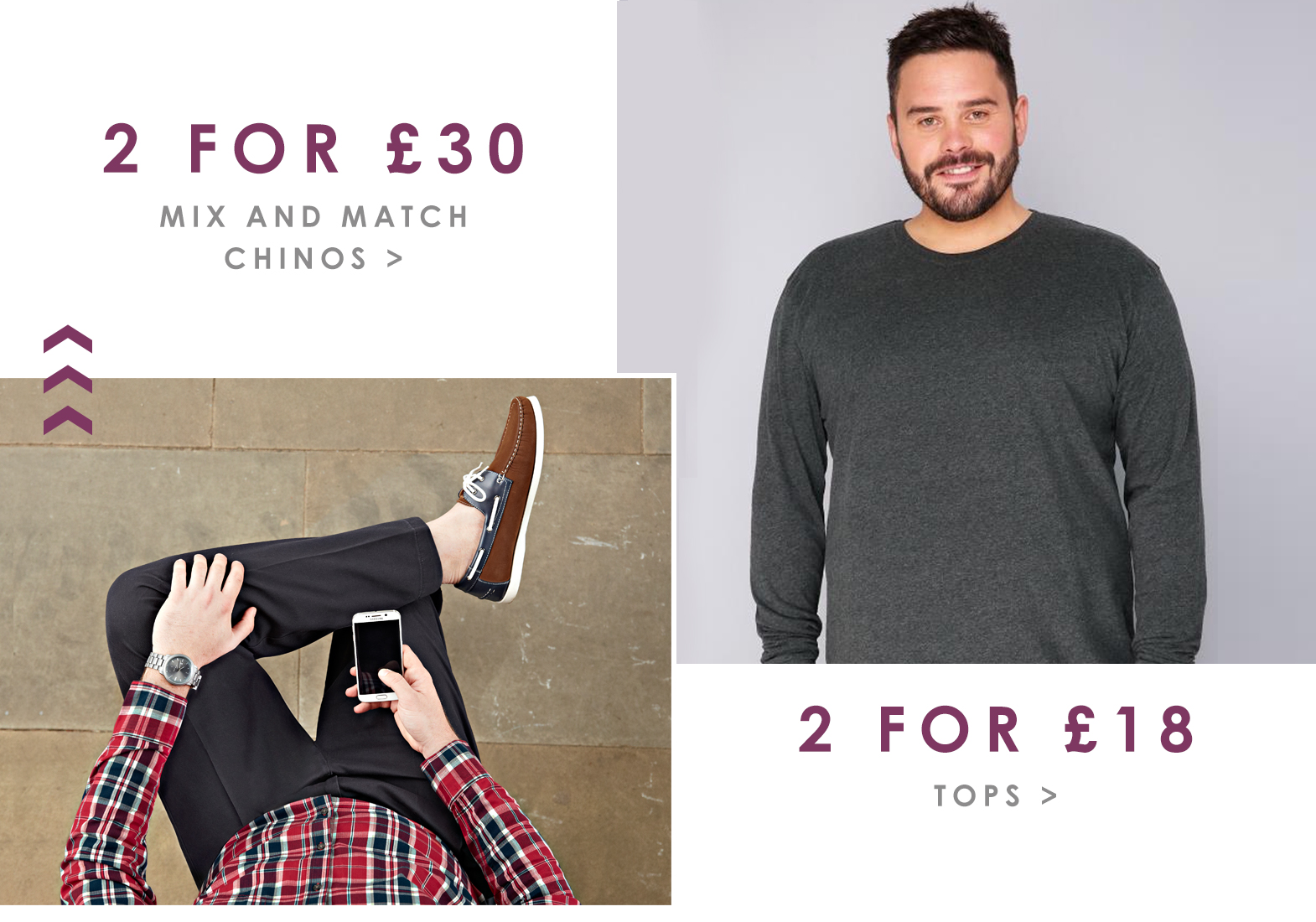 BR Offers Page - 2 for 30 chinos, 2 for 18 tops