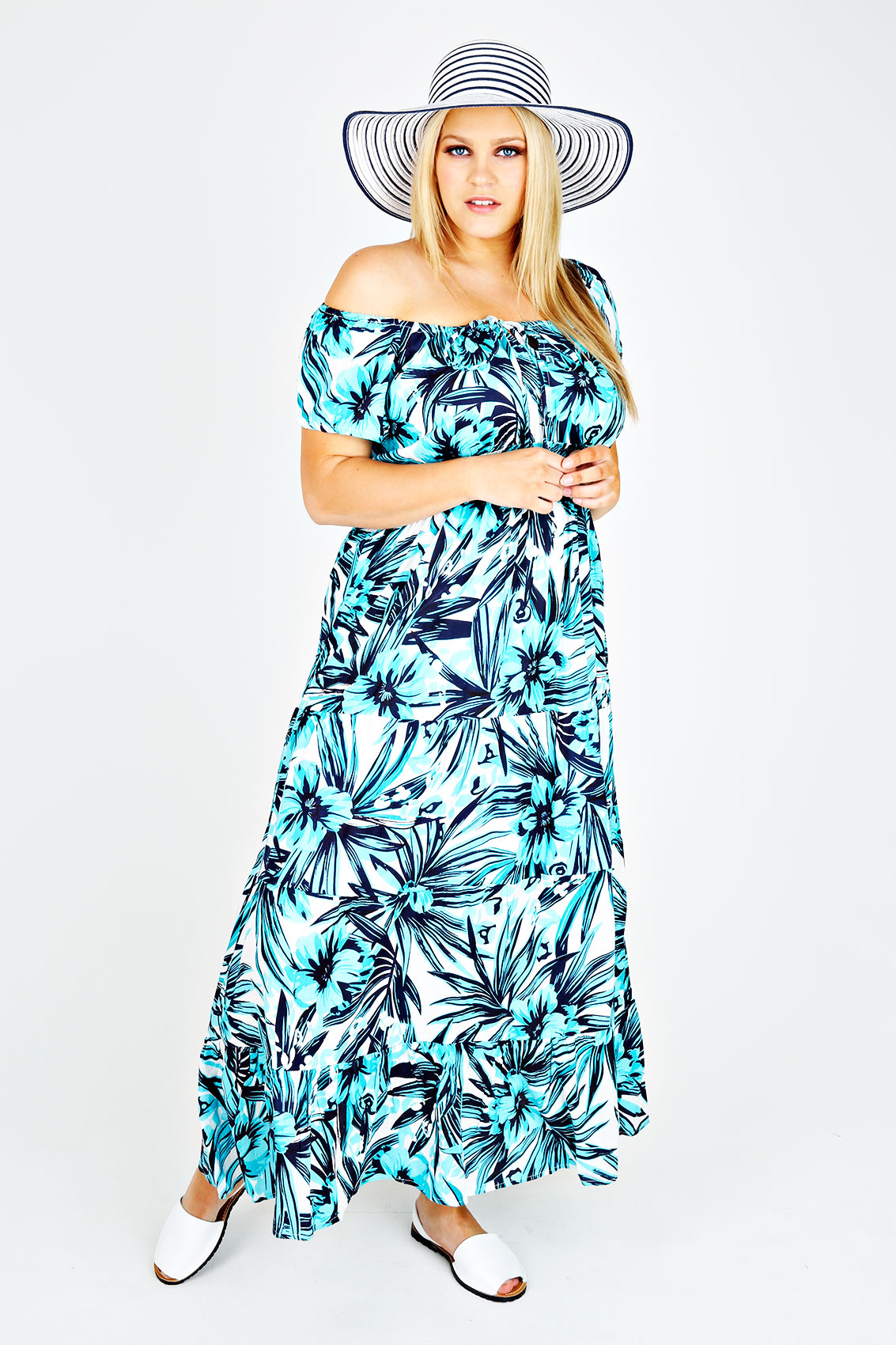 turquoise white tropical print gypsy maxi dress plus. Black Bedroom Furniture Sets. Home Design Ideas