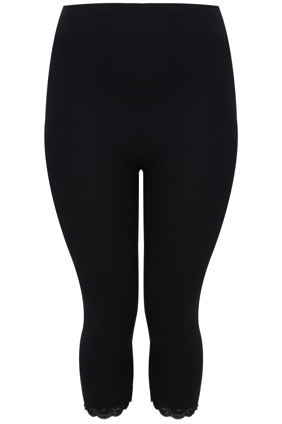 Black Cotton Essential Crop Legging With Lace Trim Plus -8245