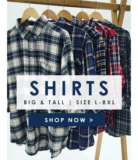 Big and Tall Shirts in sizes L- 8XL >