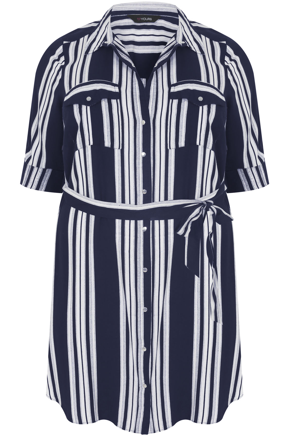 Navy and ivory striped shirt tunic with tie waist plus for Striped shirt with tie