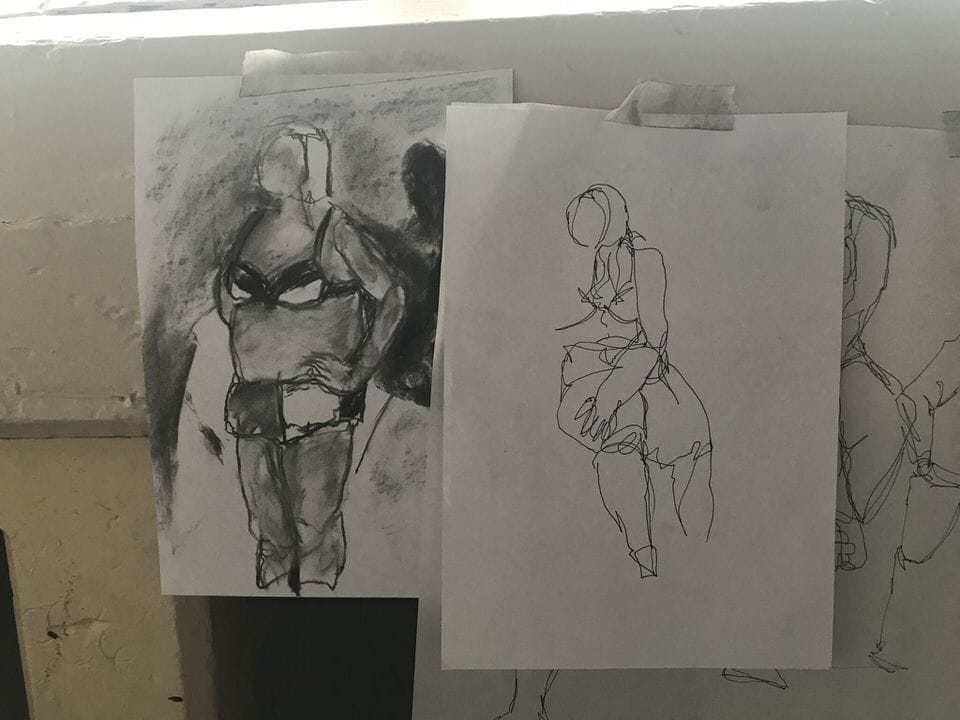 Nottingham College life drawing of plus-size bloggers