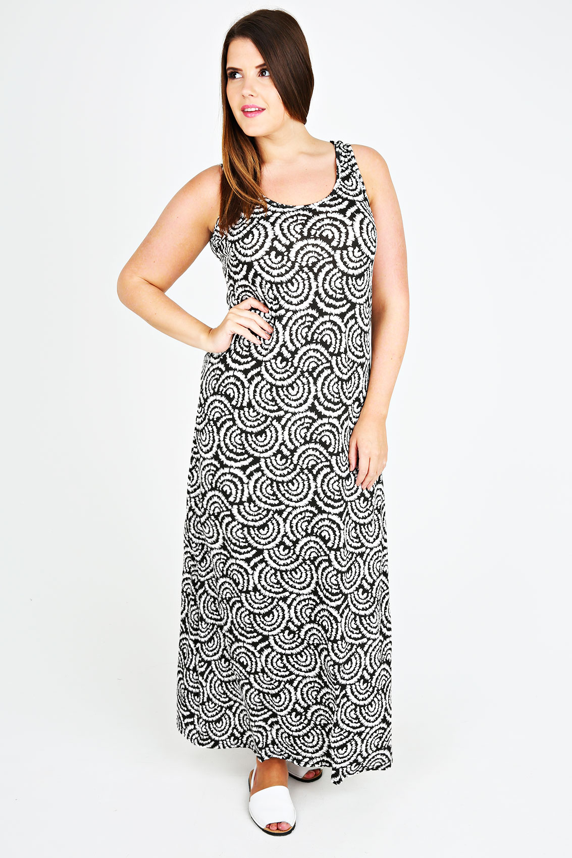 black white swirl print jersey maxi dress plus size 14. Black Bedroom Furniture Sets. Home Design Ideas
