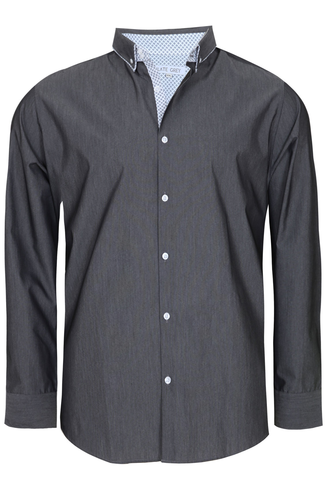 Grey Dark Grey Formal Long Sleeve Shirt - TALL