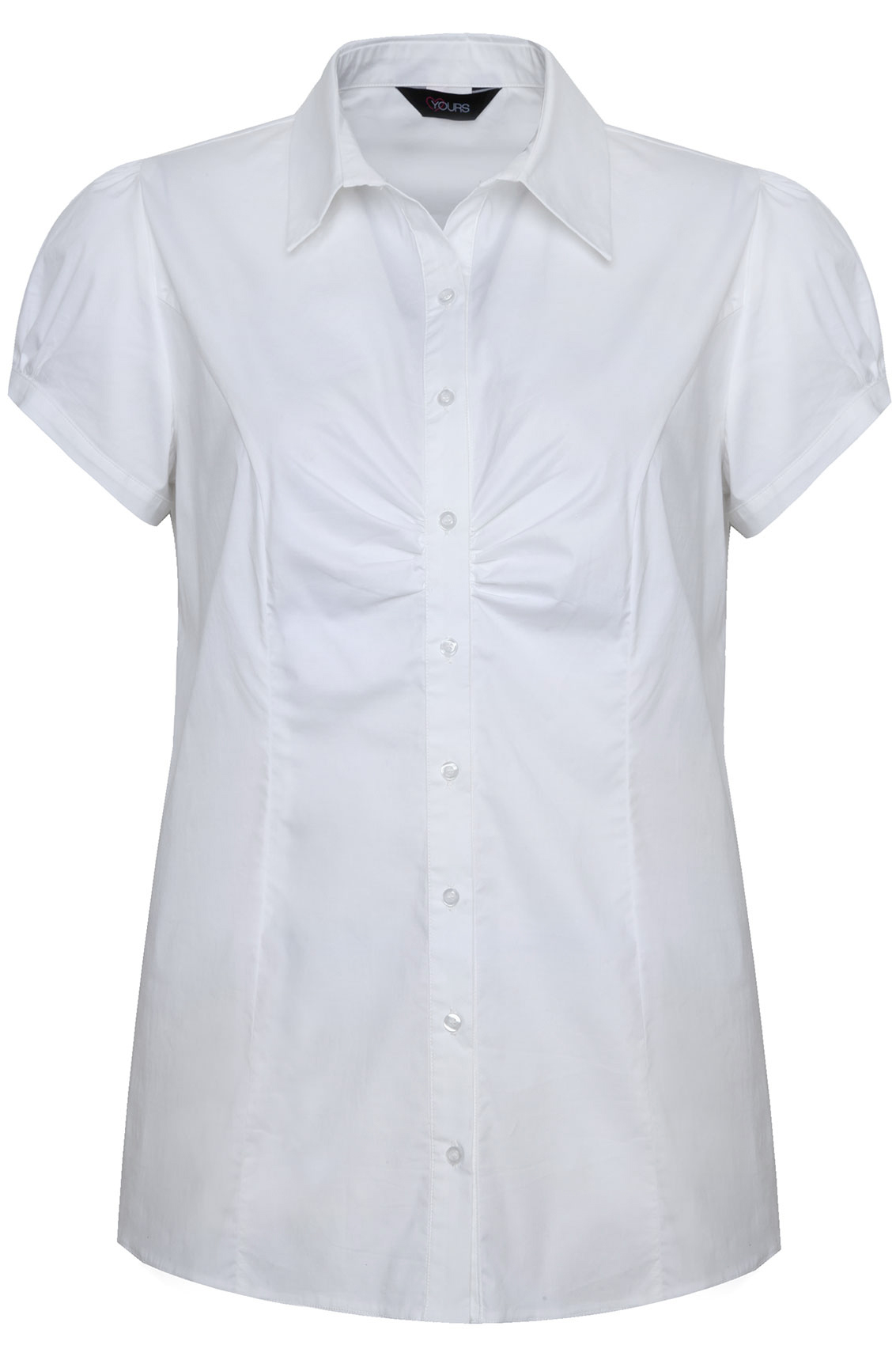 white plain cotton work shirt with ruching detail plus