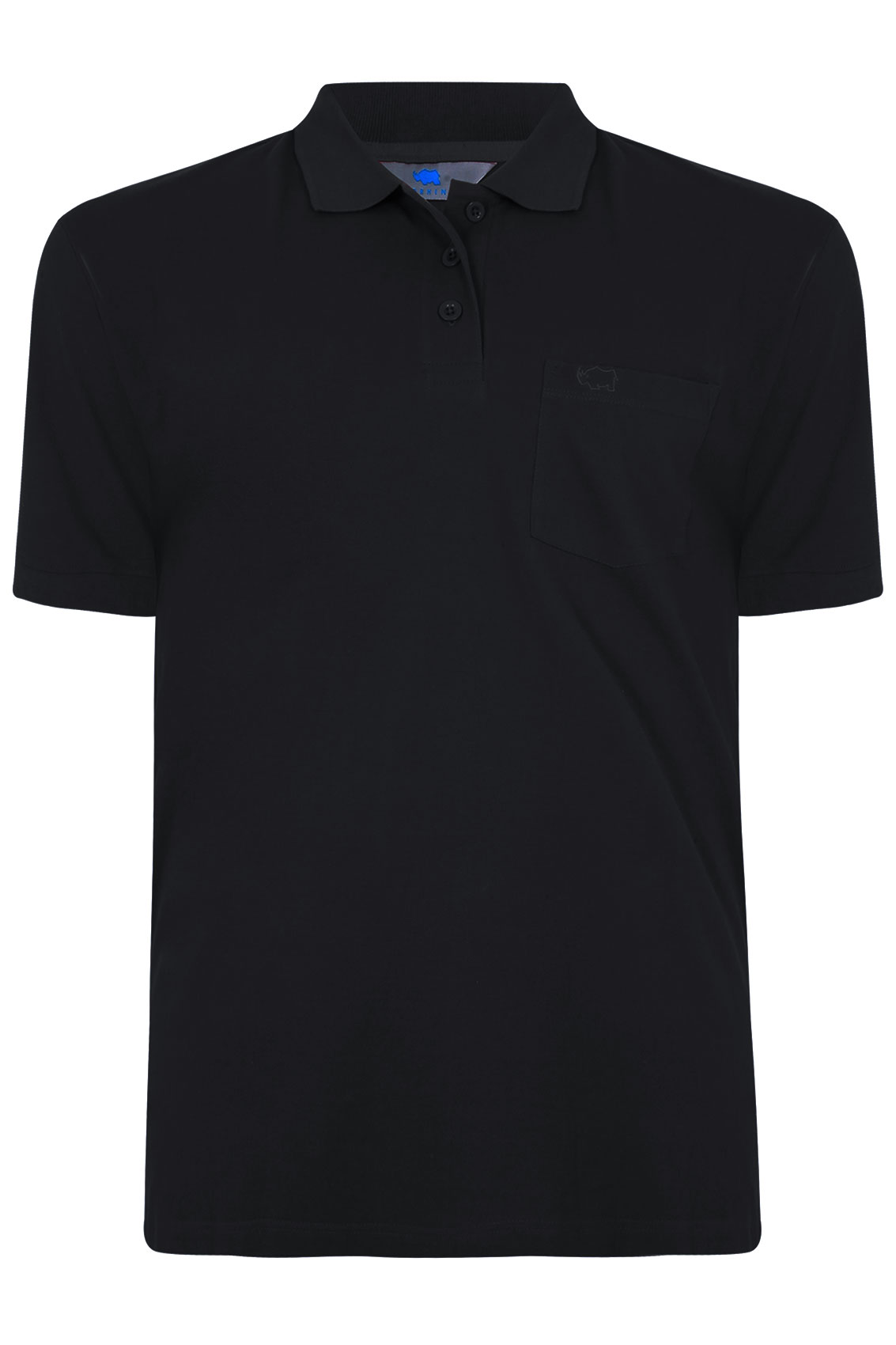 BadRhino Black Plain Polo Shirt With Chest Pocket Extra large sizes ... c8f580300561