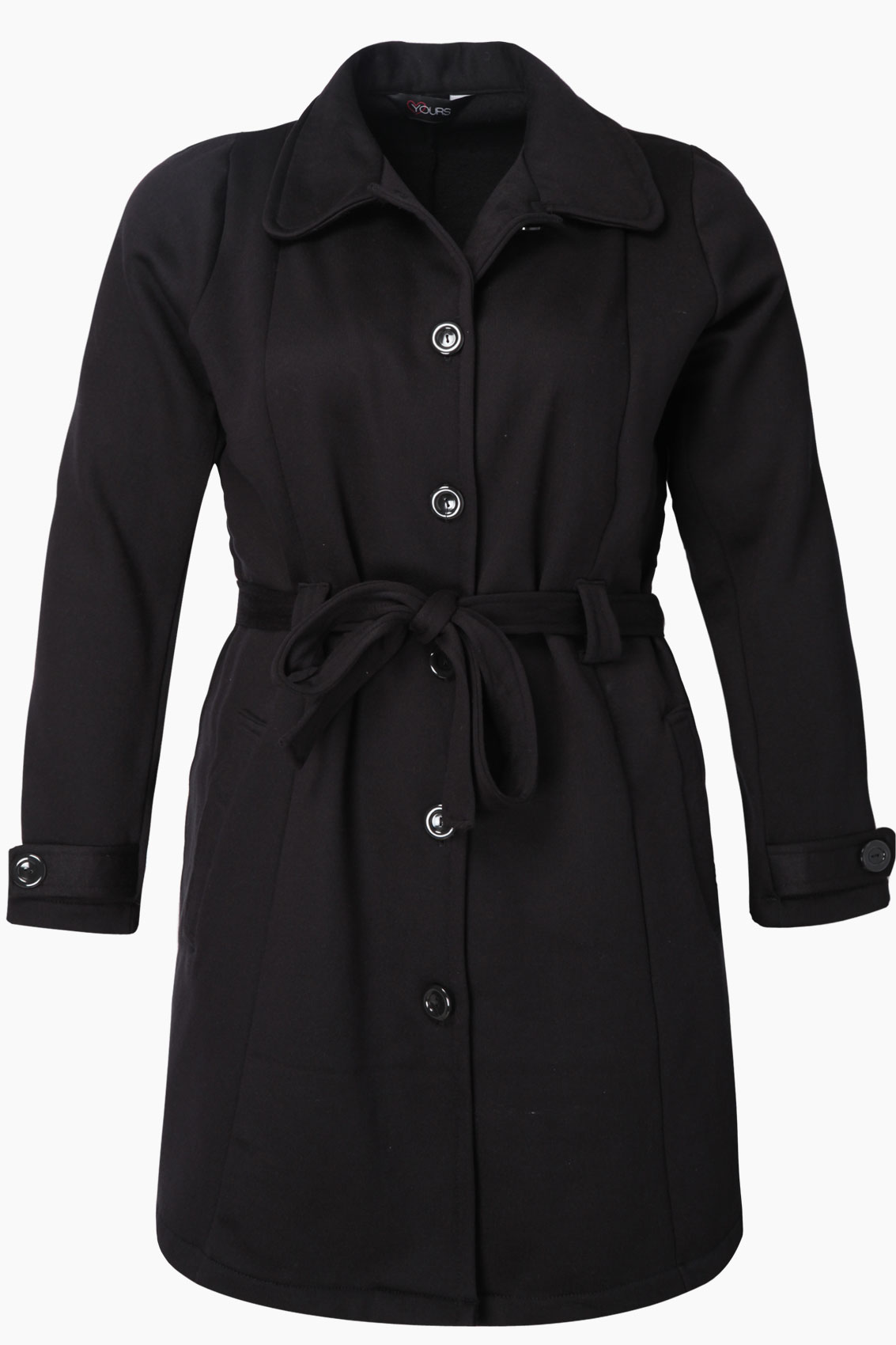 Black Jersey Coat With Button Up Fastening And Waist Belt plus ...