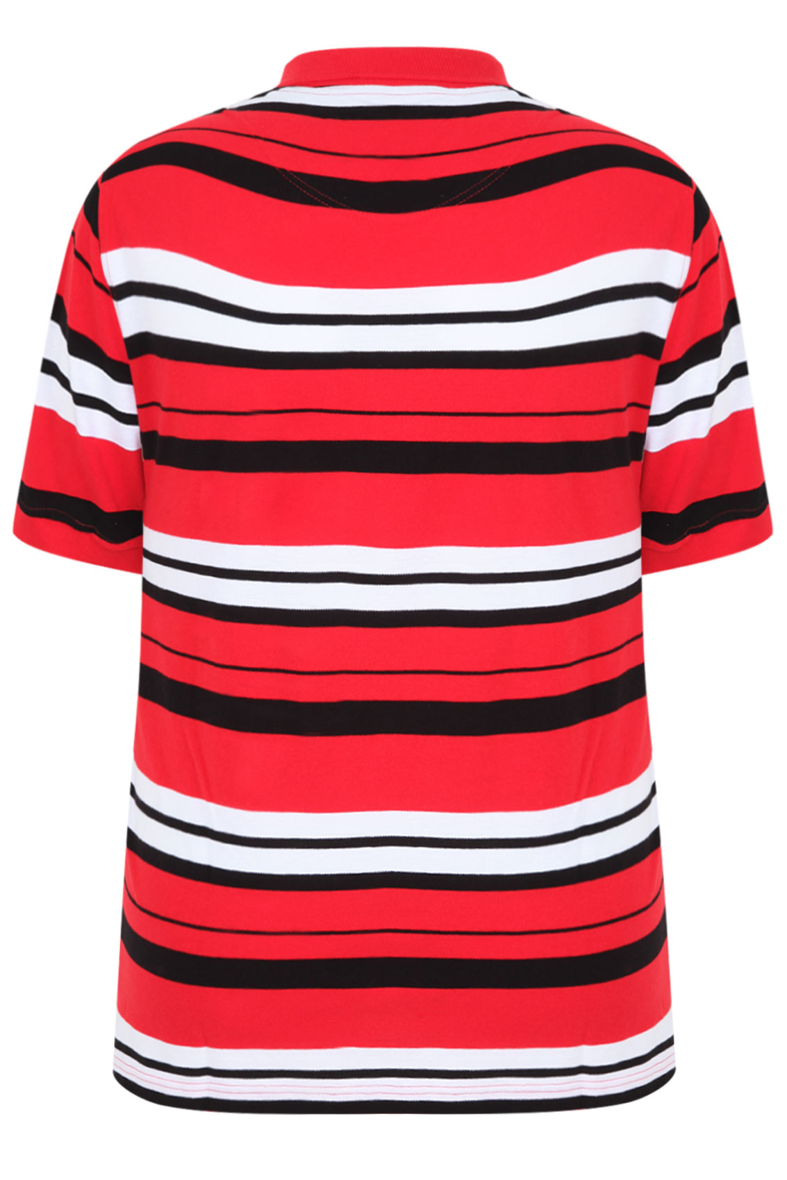 Red white black stripe short sleeve polo shirt extra for Red white striped polo shirt