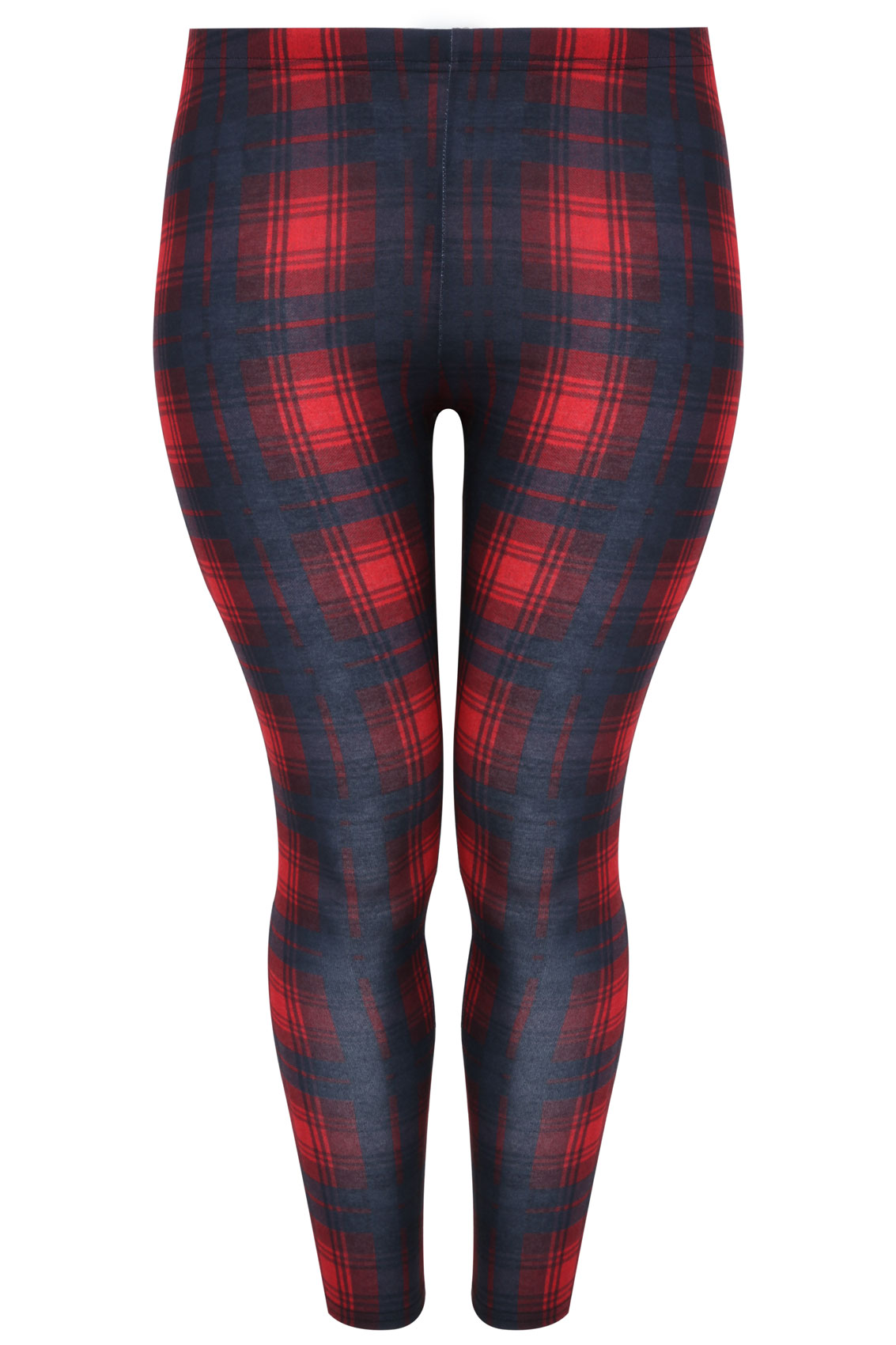 Available In Red High Rise DTY Fabric Full Stretch Skinny Leg Elastic Waistband Plaid Print 29