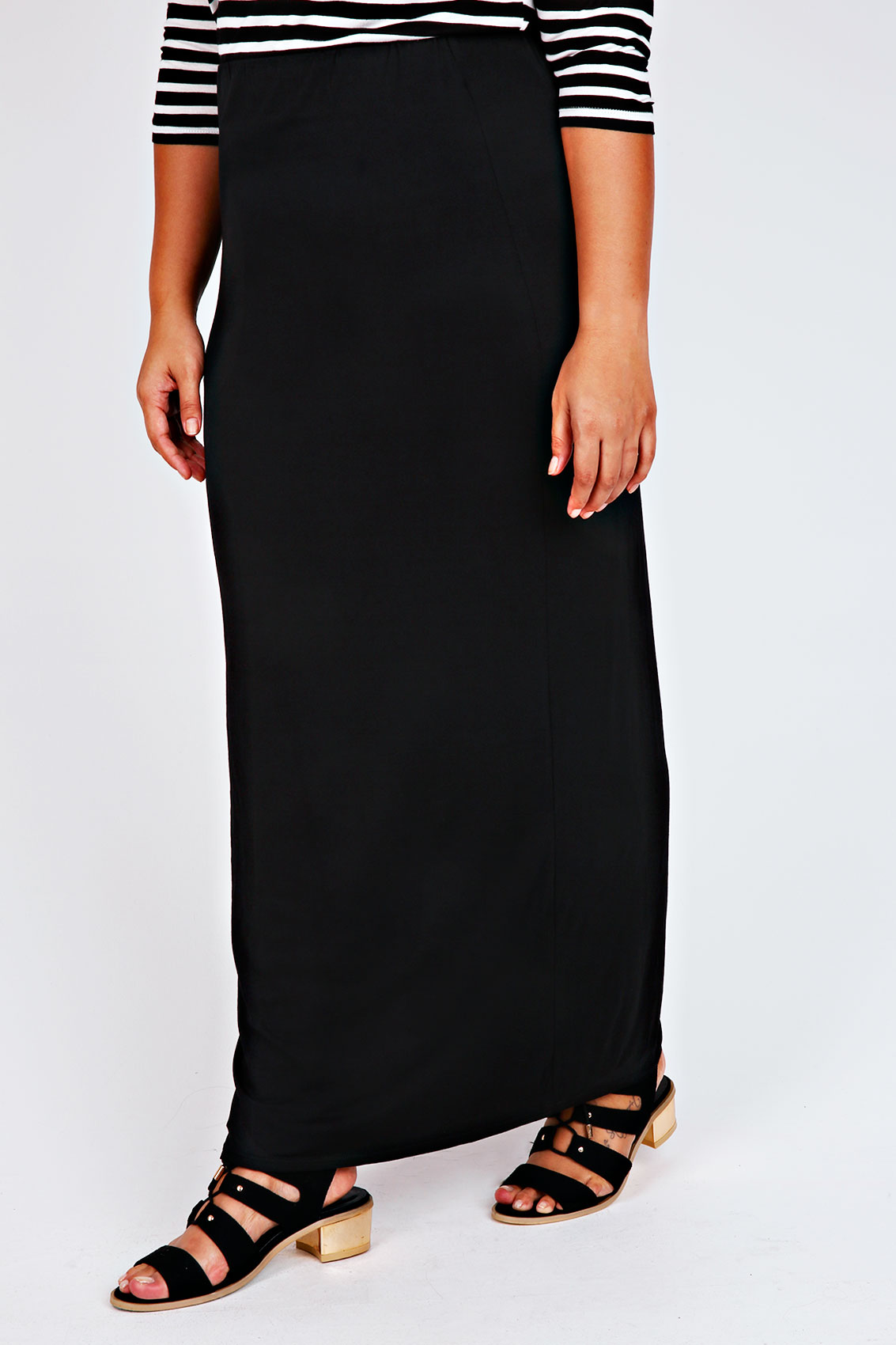 Black Jersey Maxi Tube Skirt Plus size 14,16,18,20,22,24,26,28,30 ...