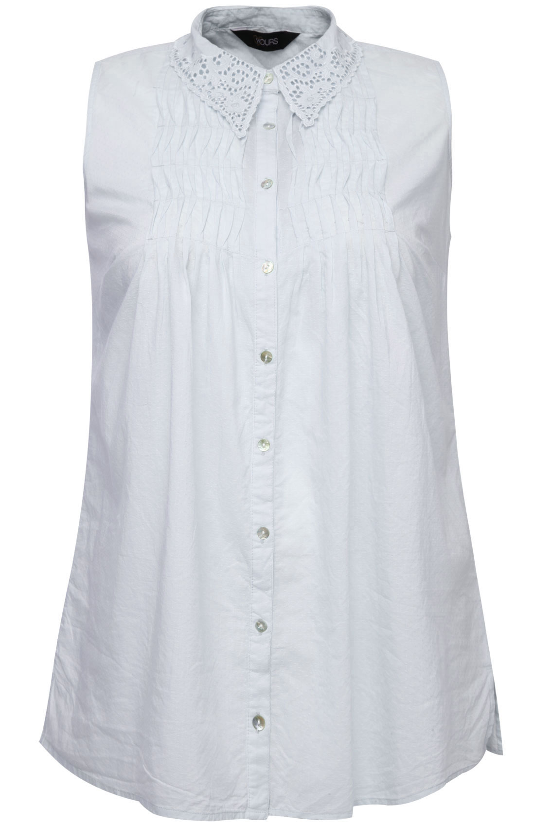 White Sleeveless Dobby Shirt With Broderie Anglaise Collar
