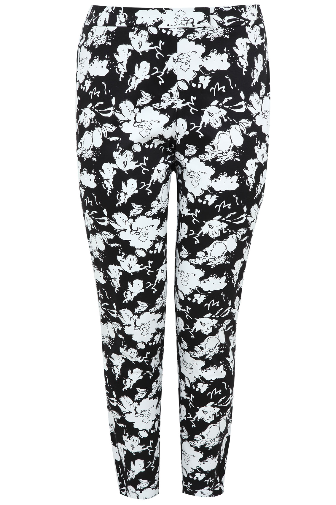Black And White Floral Print Cotton Sateen Slim Leg Trousers Plus ...