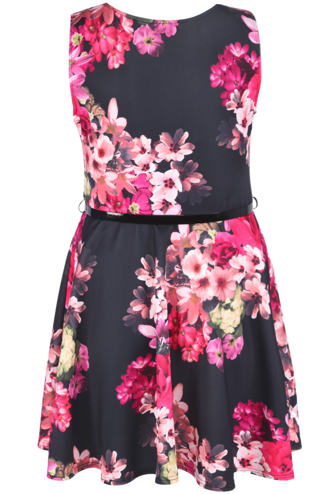 black and pink tropical floral skater dress with patent