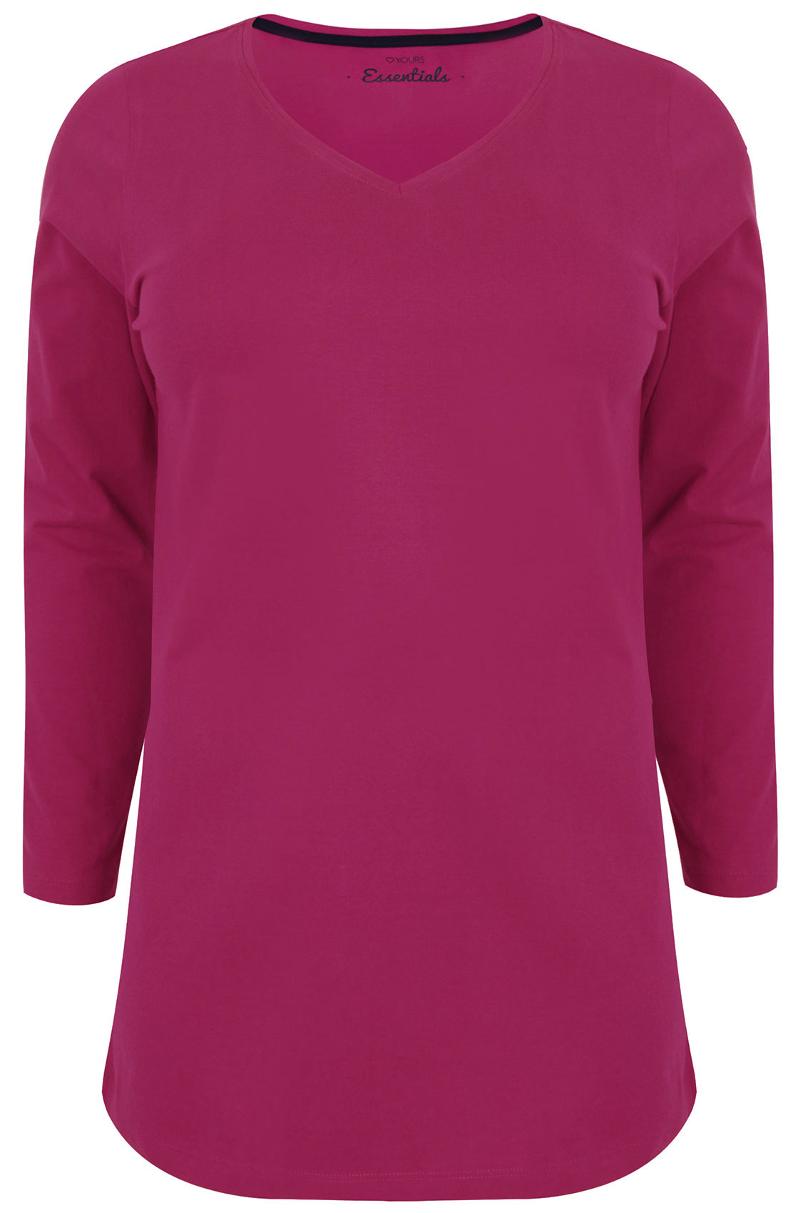 Pink Long Sleeve V-Neck Plain T-Shirt plus Size 16 to 36