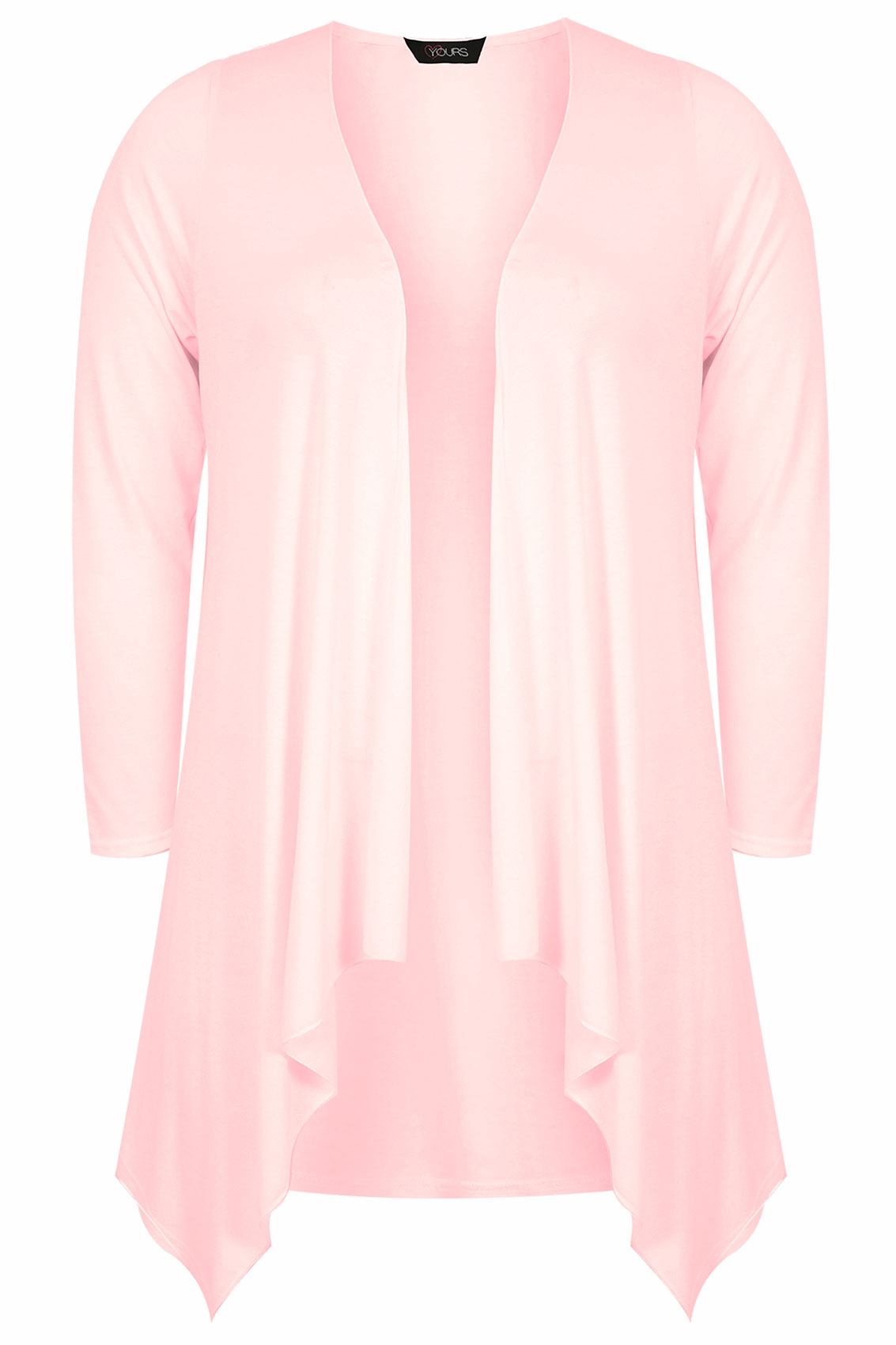 Pale Pink Edge To Edge Waterfall Jersey Cardigan plus Size 16 to 32