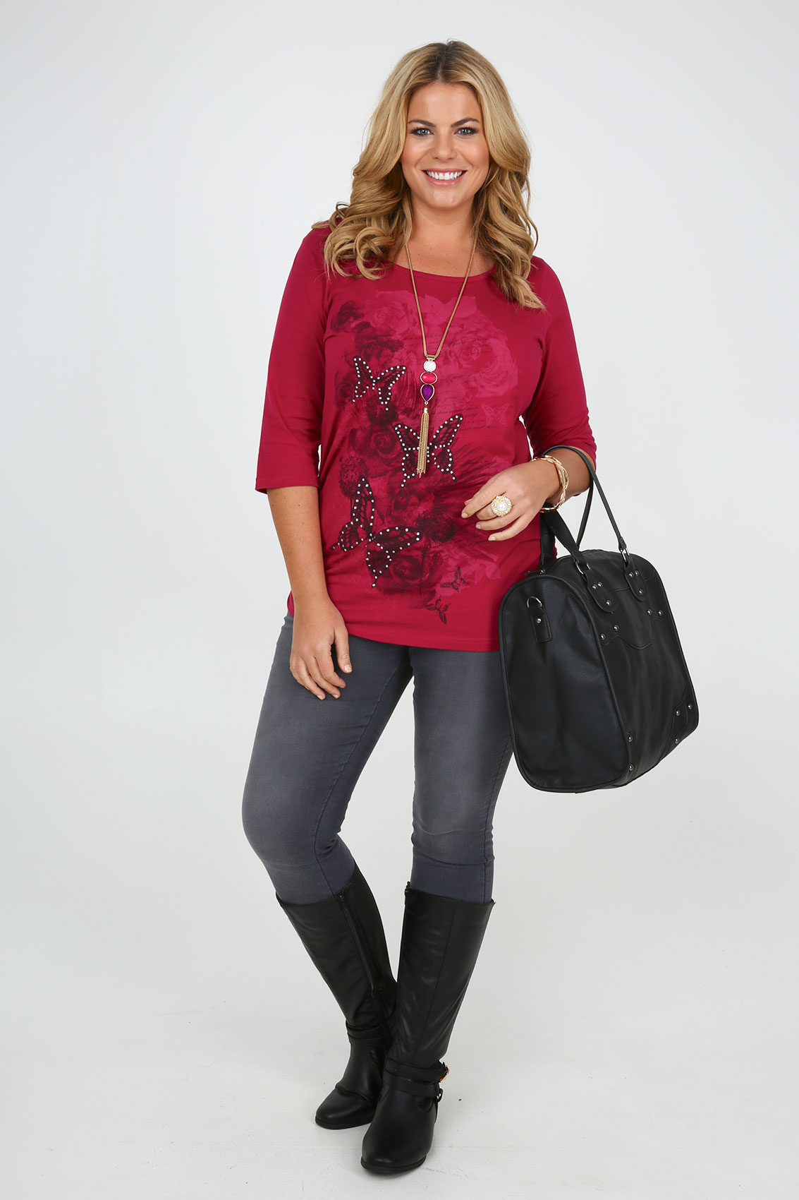 Deep pink butterfly print 3 4 sleeve t shirt with ruching for 20 34 35 dress shirts