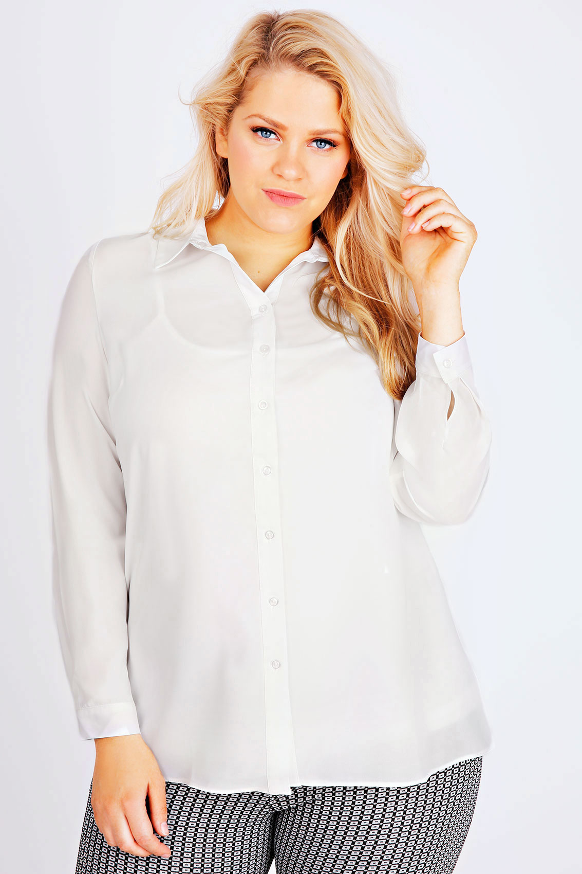 ivory plain chiffon button up shirt plus size 16 to 32