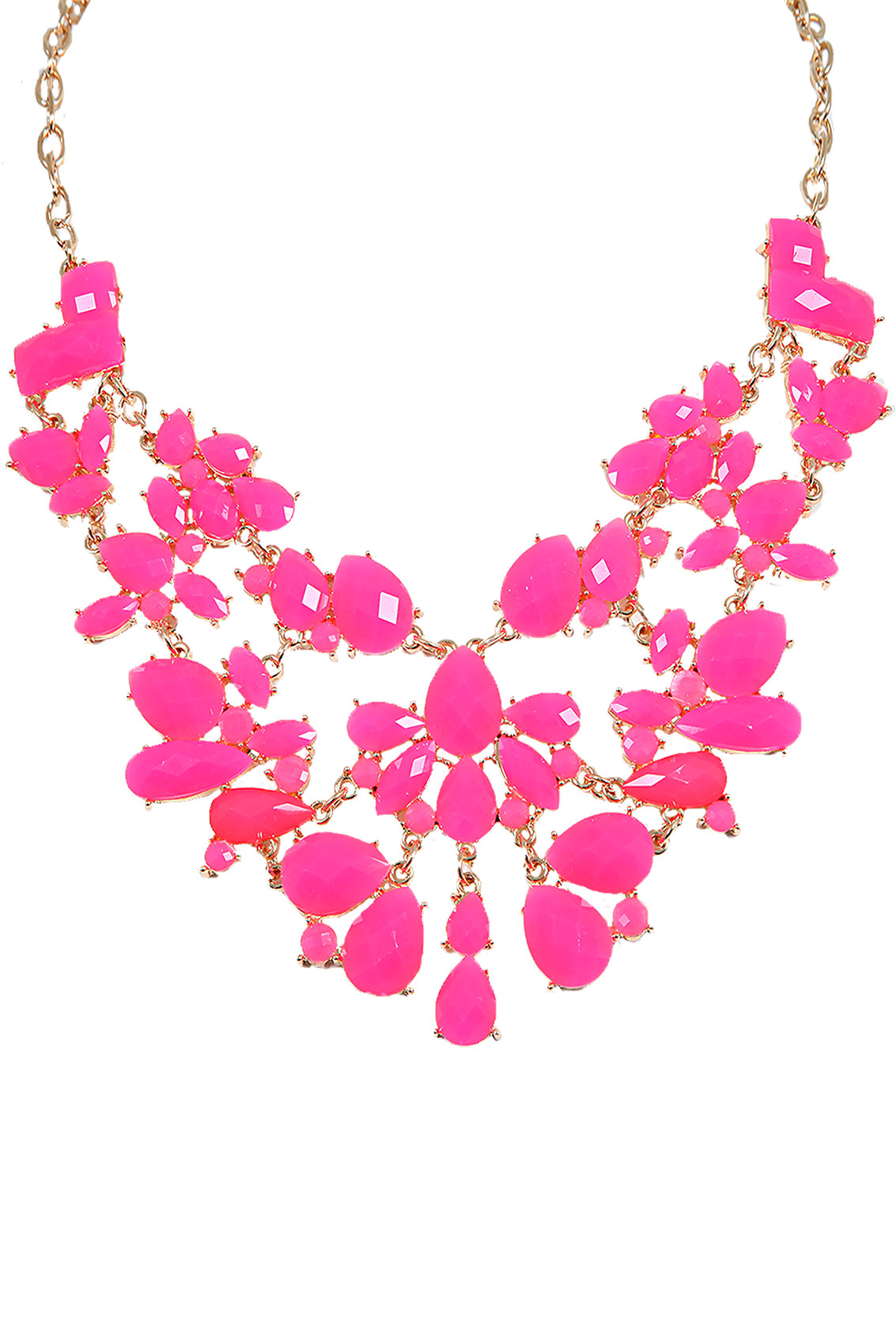 p hot necklace gold pink statement beaded